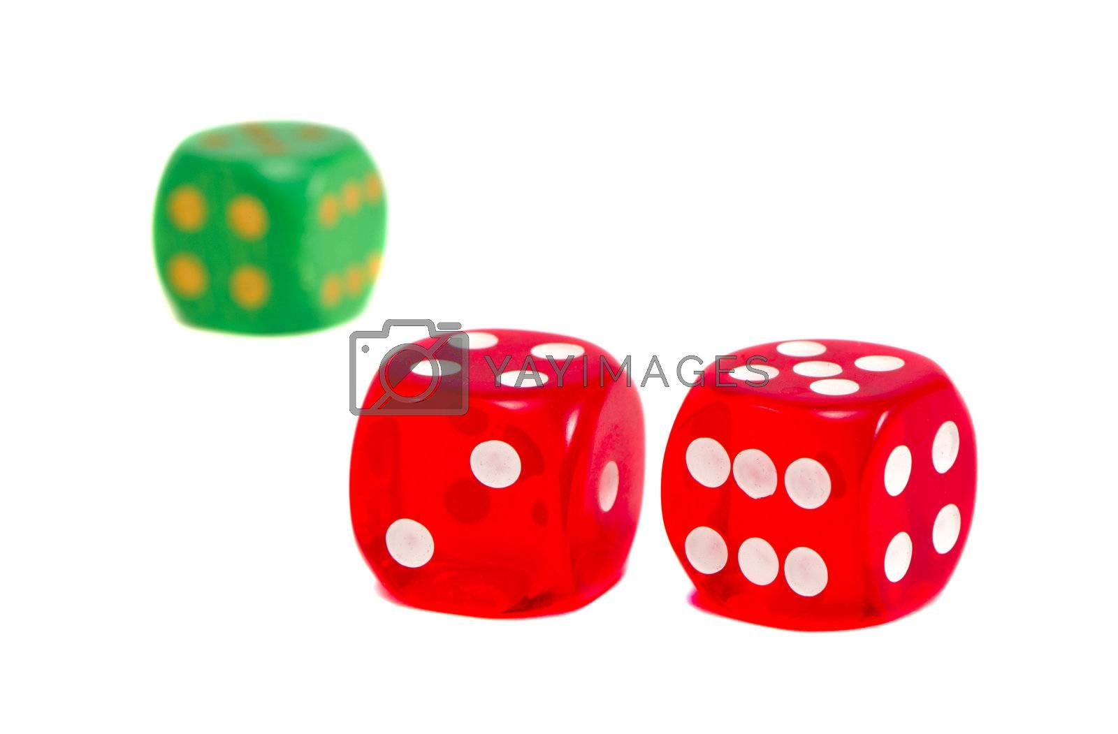 dice game play red and green isolated on white background.