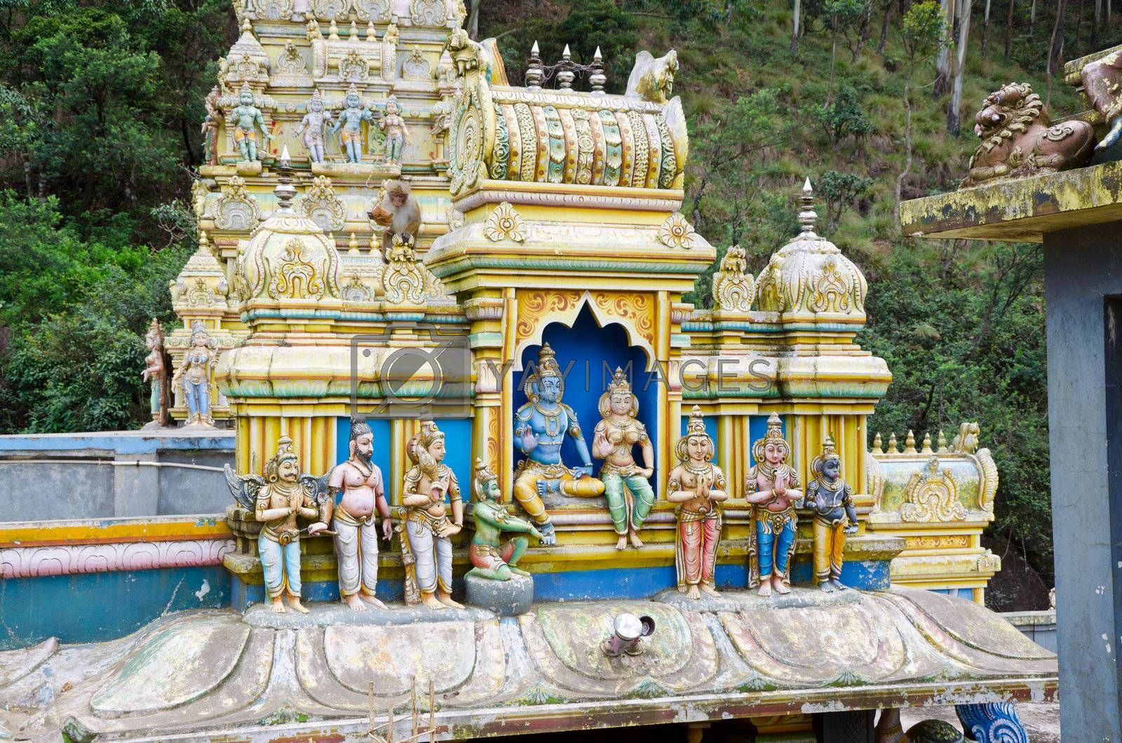 MOUNTAINS OF SRI LANKA DECEMBER 8. external decoration of a Hindu temple in the mountains of Sri Lanka, december 8, 2011.