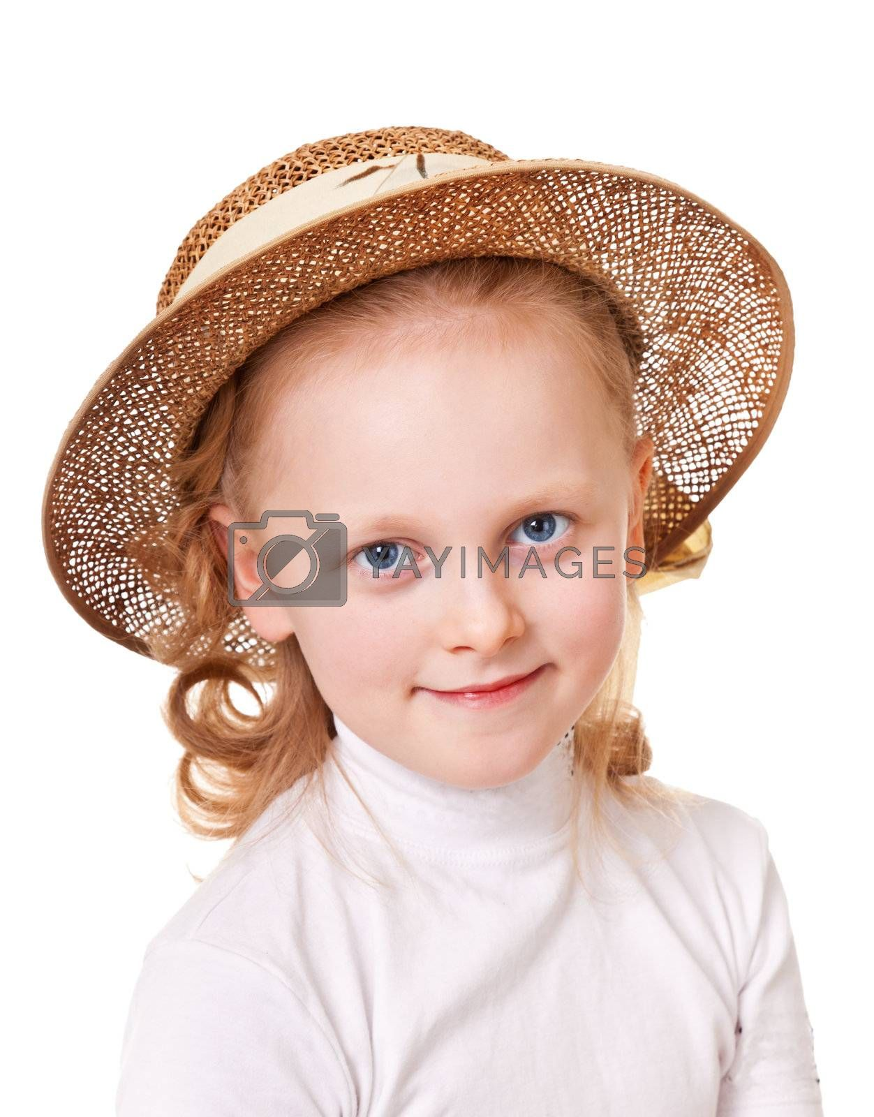 Portrait of schoolgirls in a straw hat on a white background