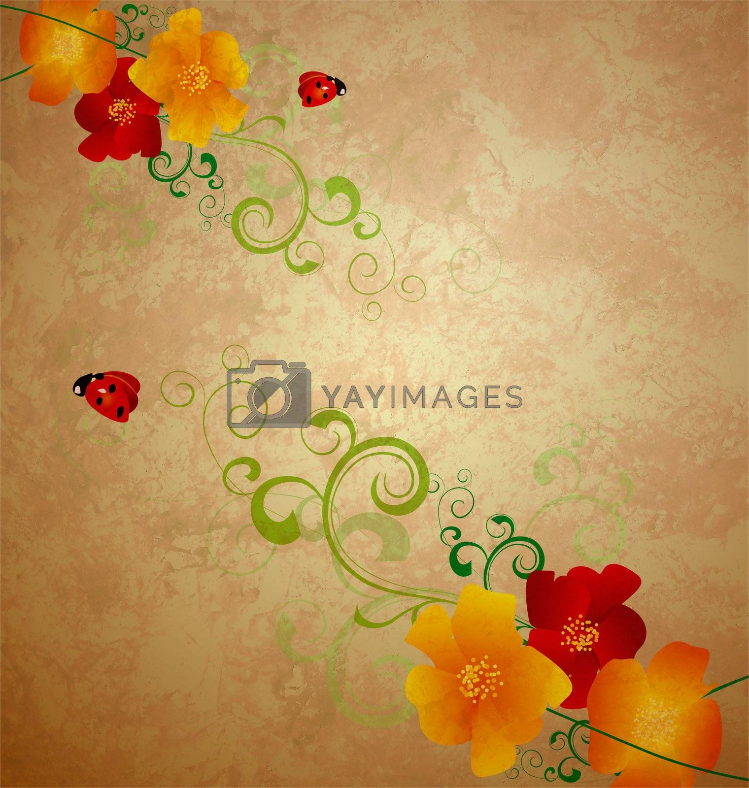 red and yellow poppies illustration with ladybird gunge idea