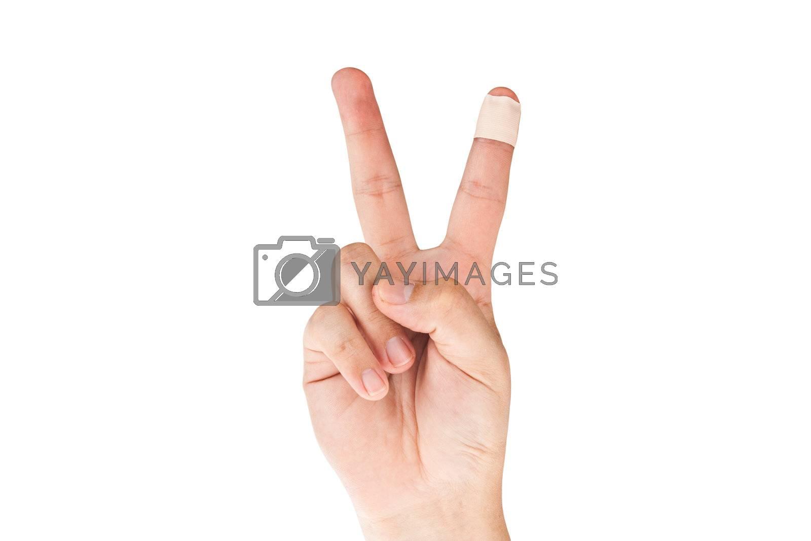 Finger with bandage