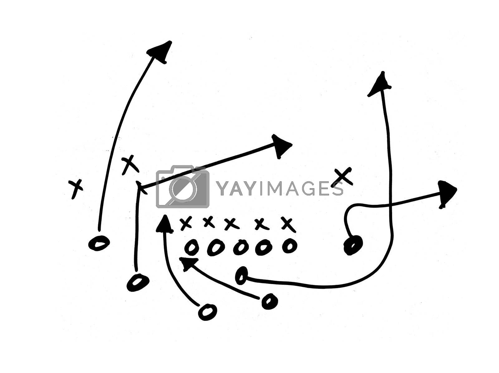A chalk drawing of a football play. Has remnents of chalk and it is very high quality.