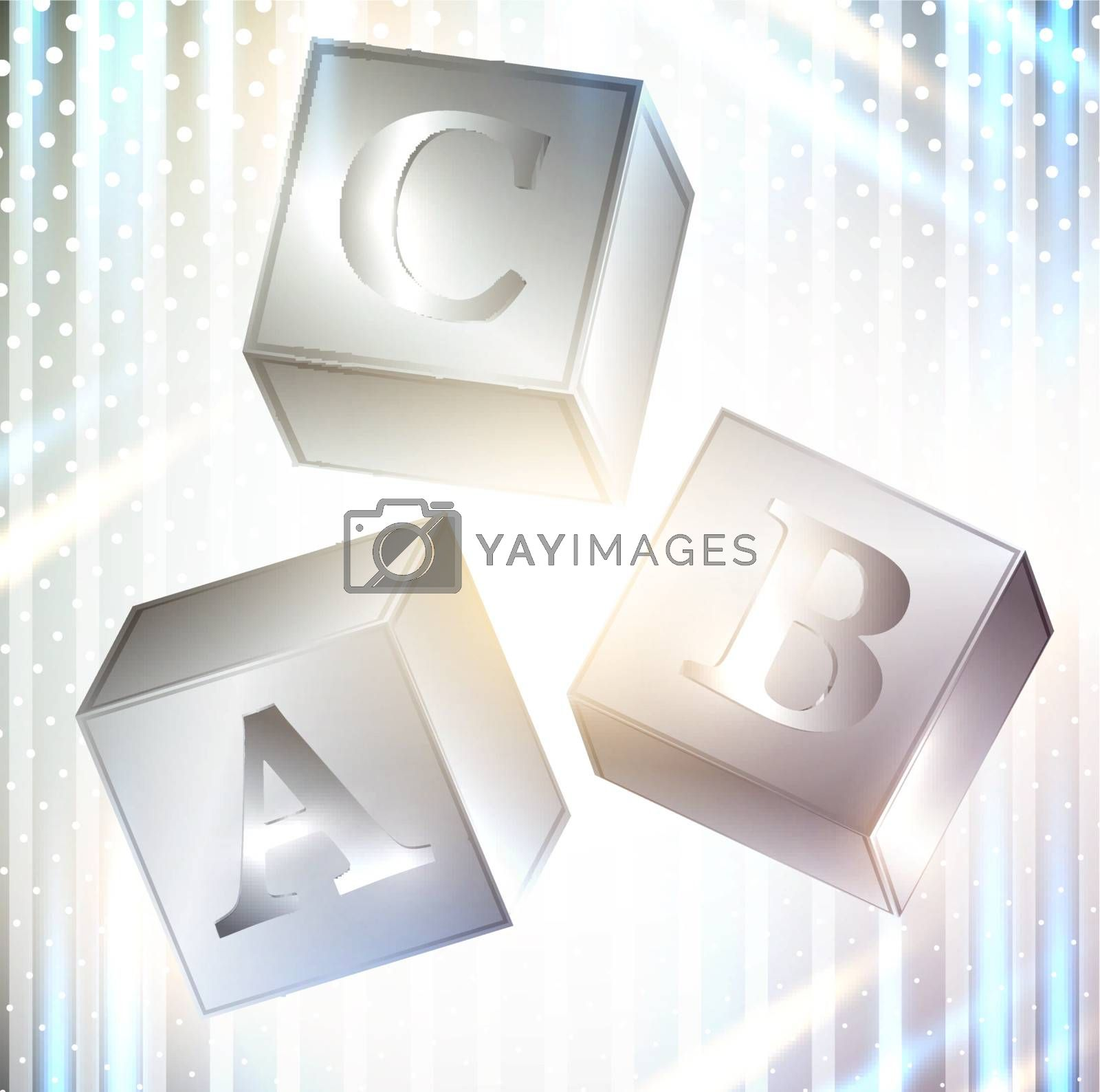 abc cubes over abstract bright background