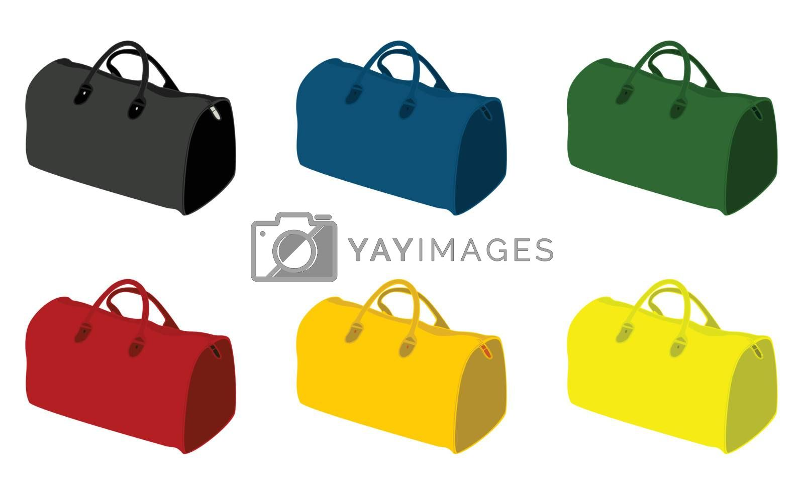 Sports bags of different colour. A vector illustration