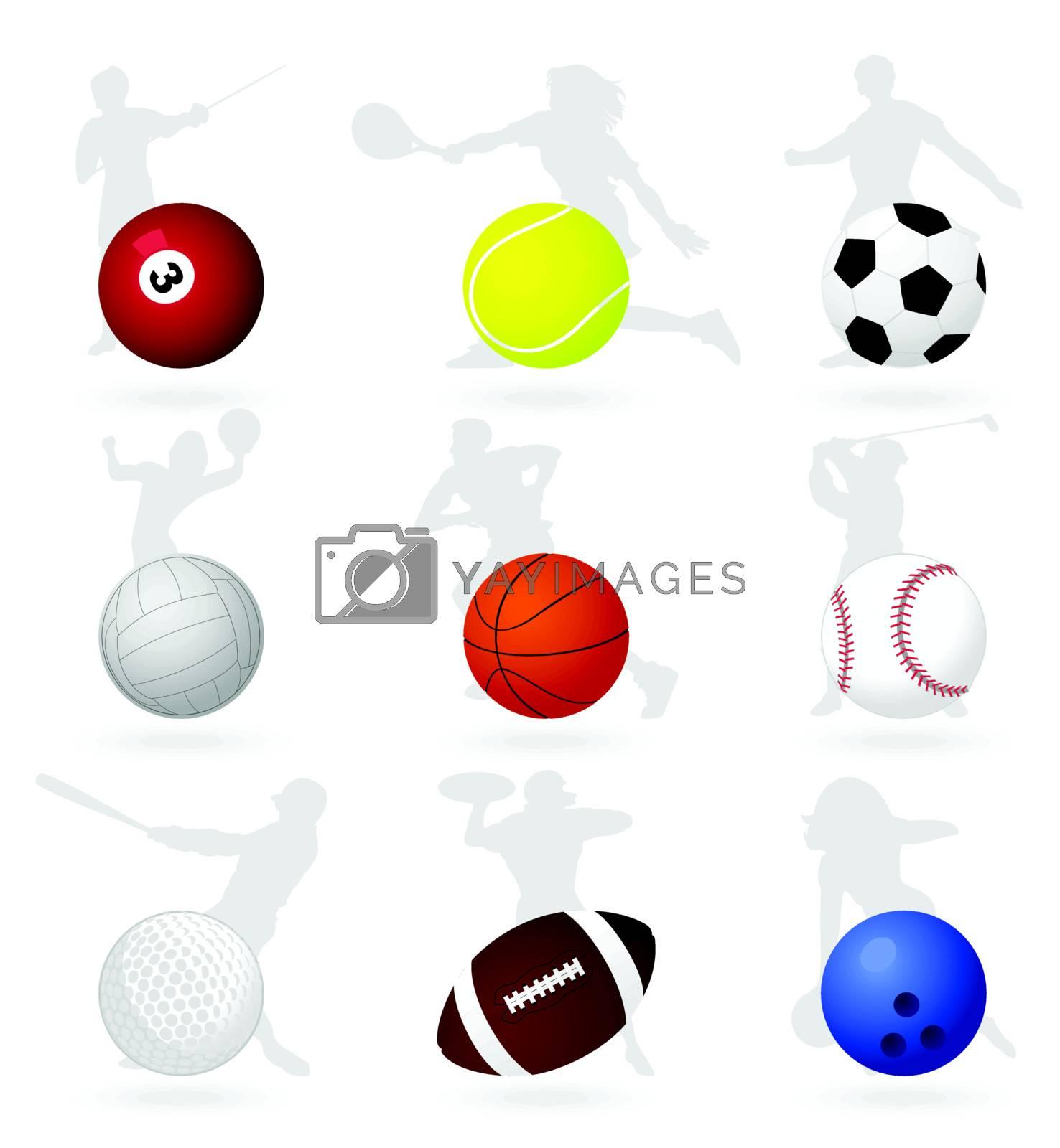 Set of sports balls. A vector illustration