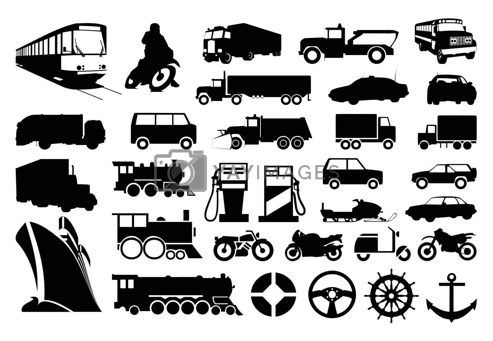 Collection of silhouettes of various transport. A vector illustration