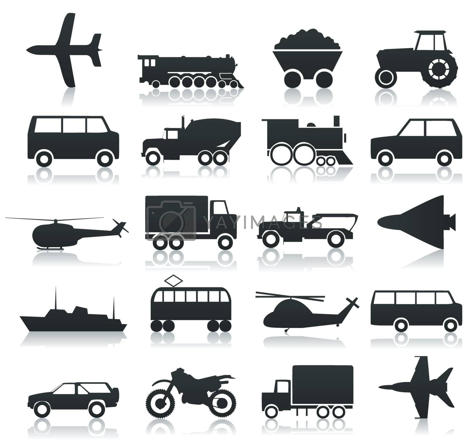 Collection of icons of transport. A vector illustration