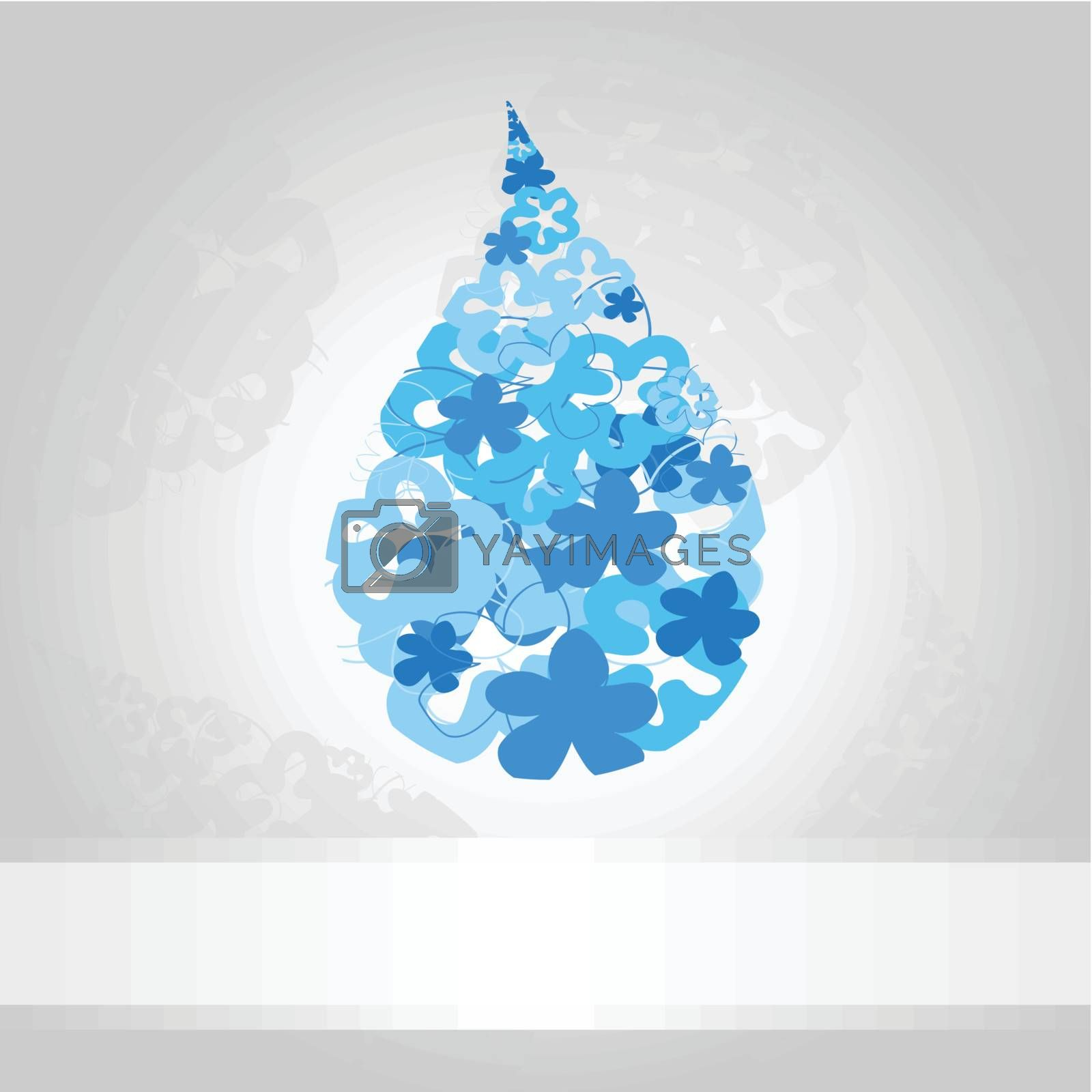 Blue drop of water on a white background. A vector illustration