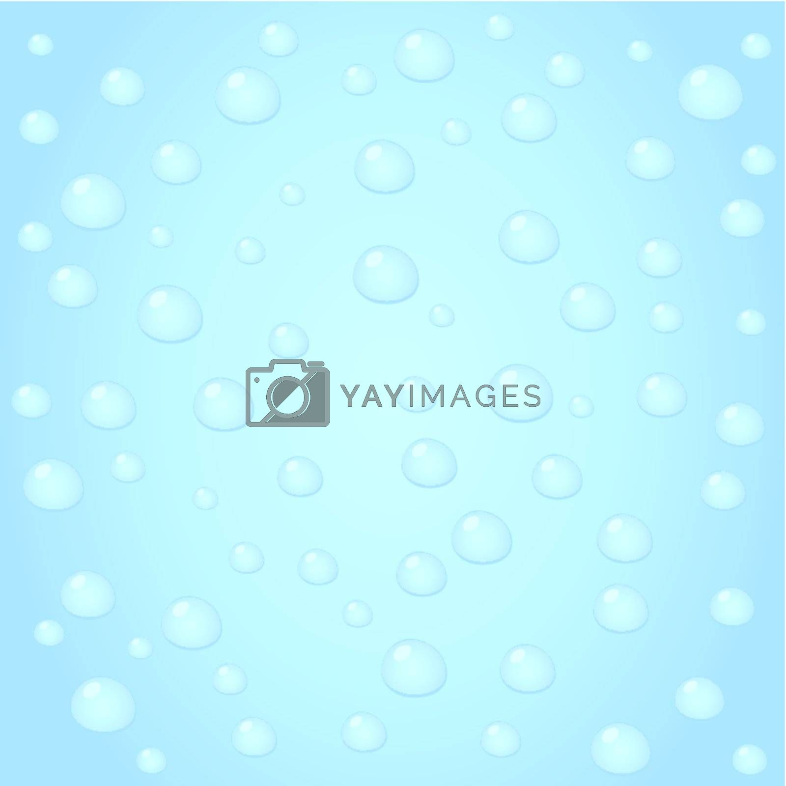 Water drops on blue glass. A vector illustration