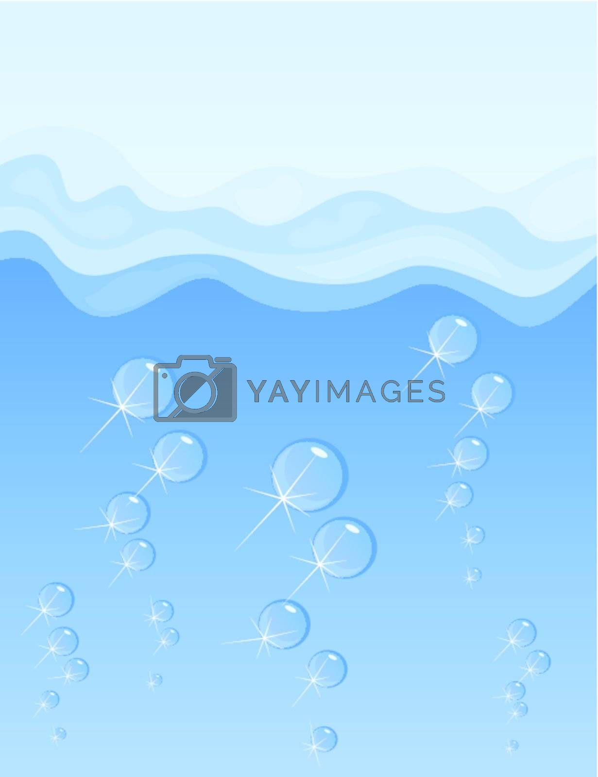 From depth of the sea air rises. A vector illustration