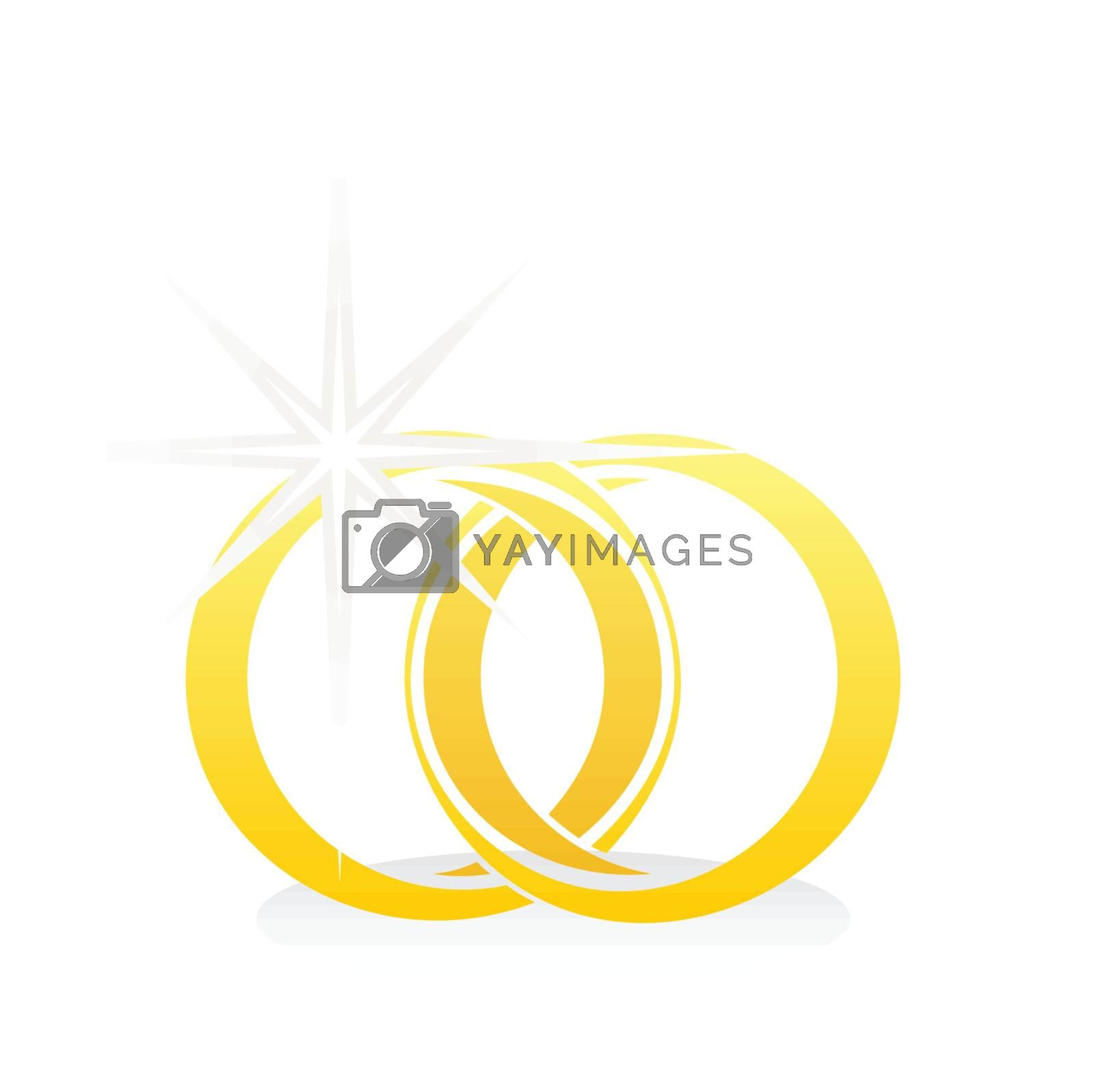 Two gold wedding rings. A vector illustration