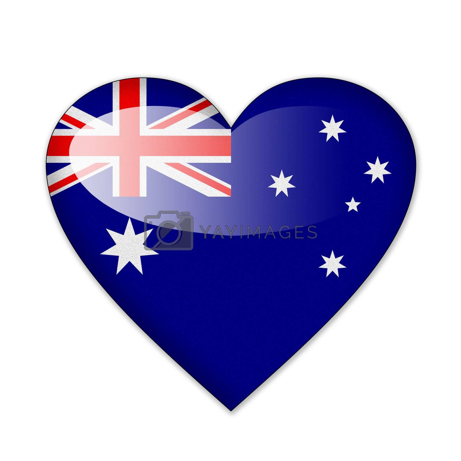 Australia flag in heart shape isolated on white background