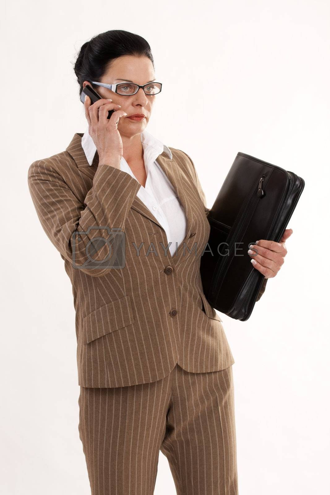 modern business woman on the phone with timer in hand