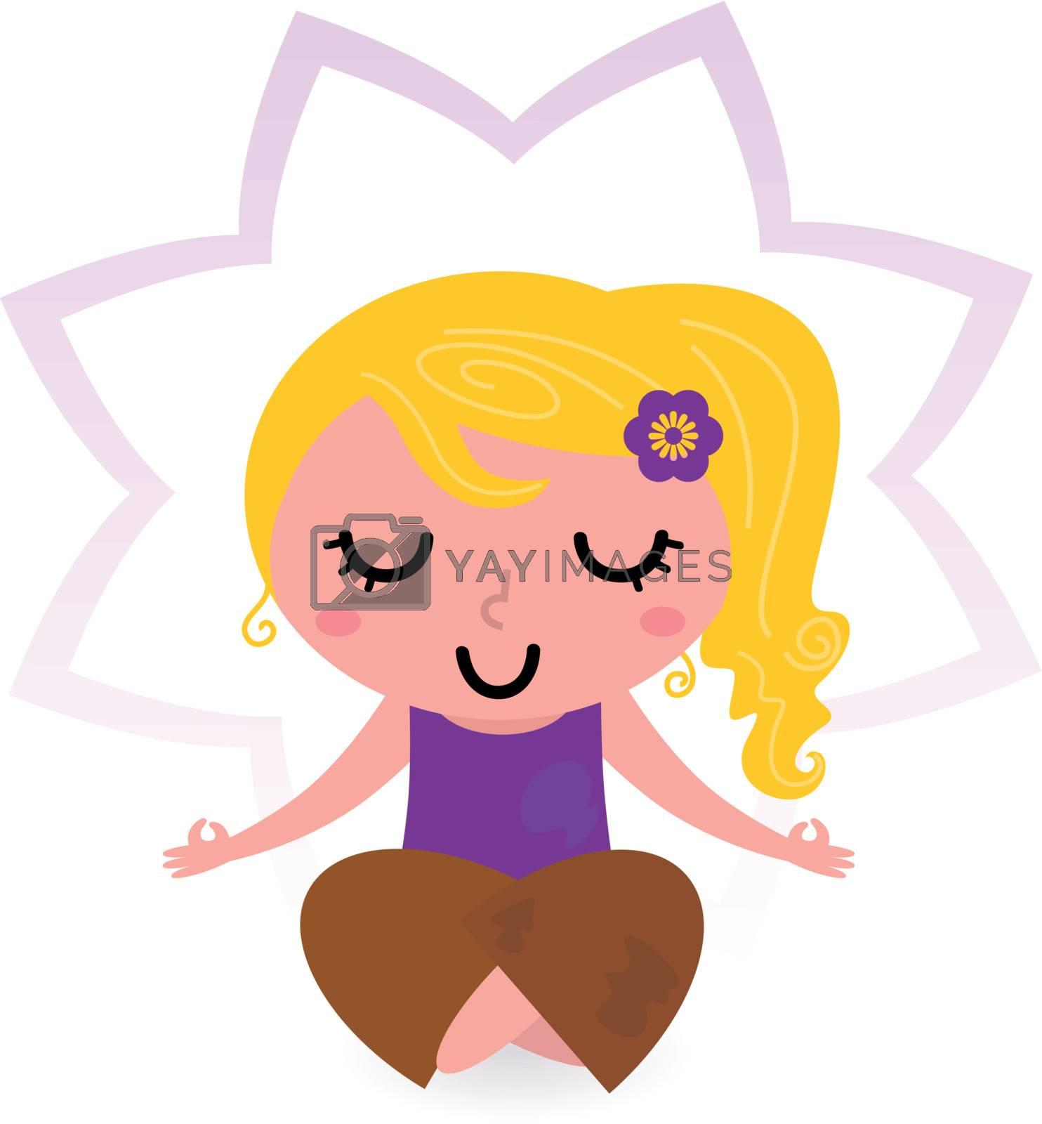 Cute blond girl practicing yoga asana. Vector