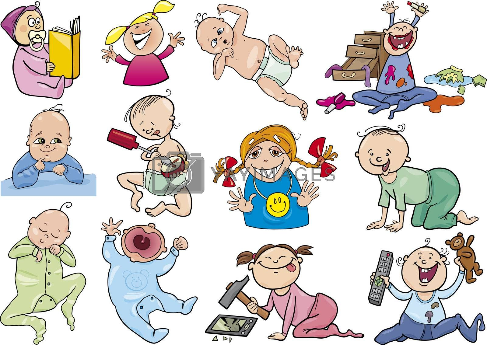 cartoon illustration of babies and children set