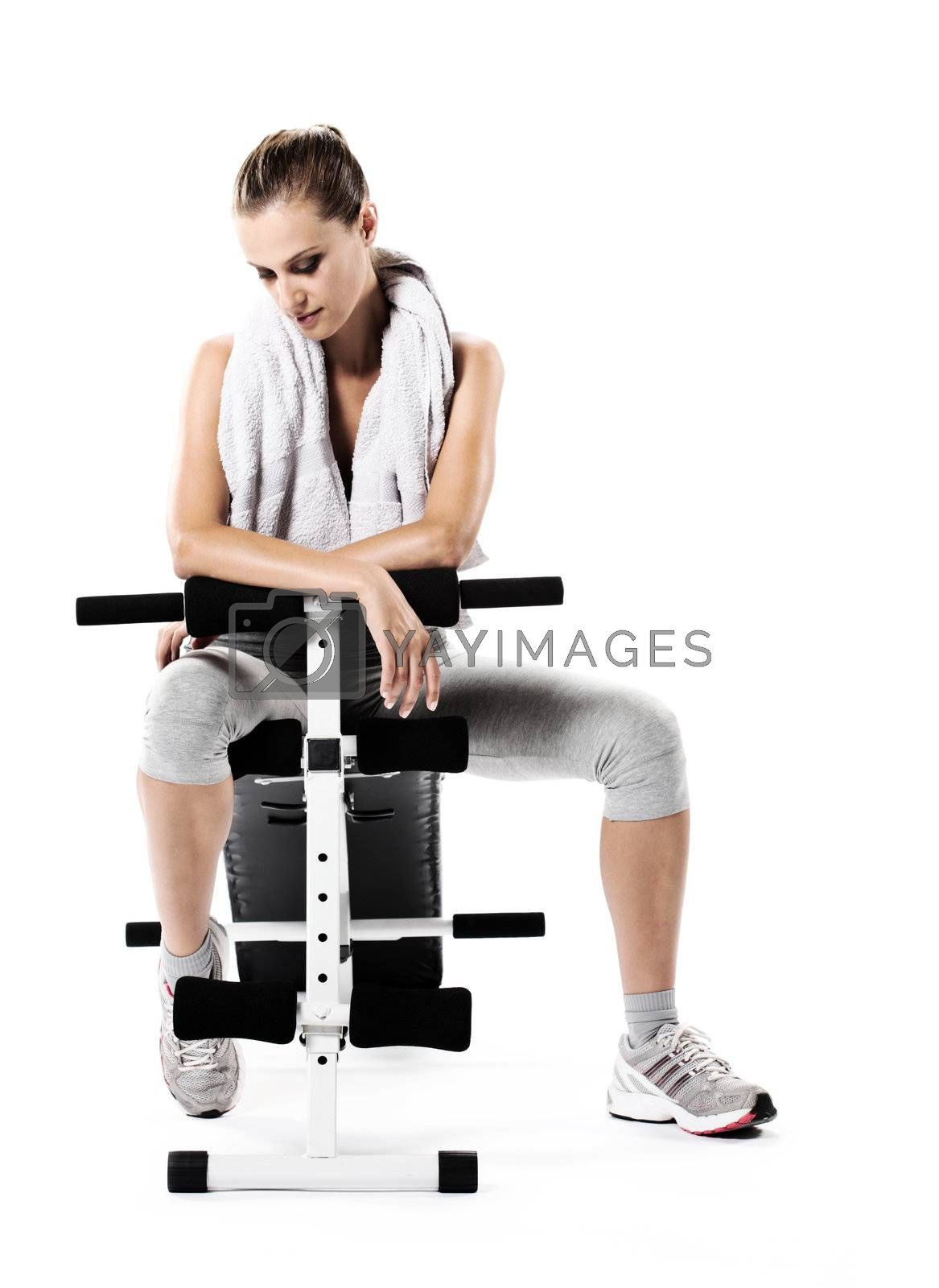 Young woman resting after exercising