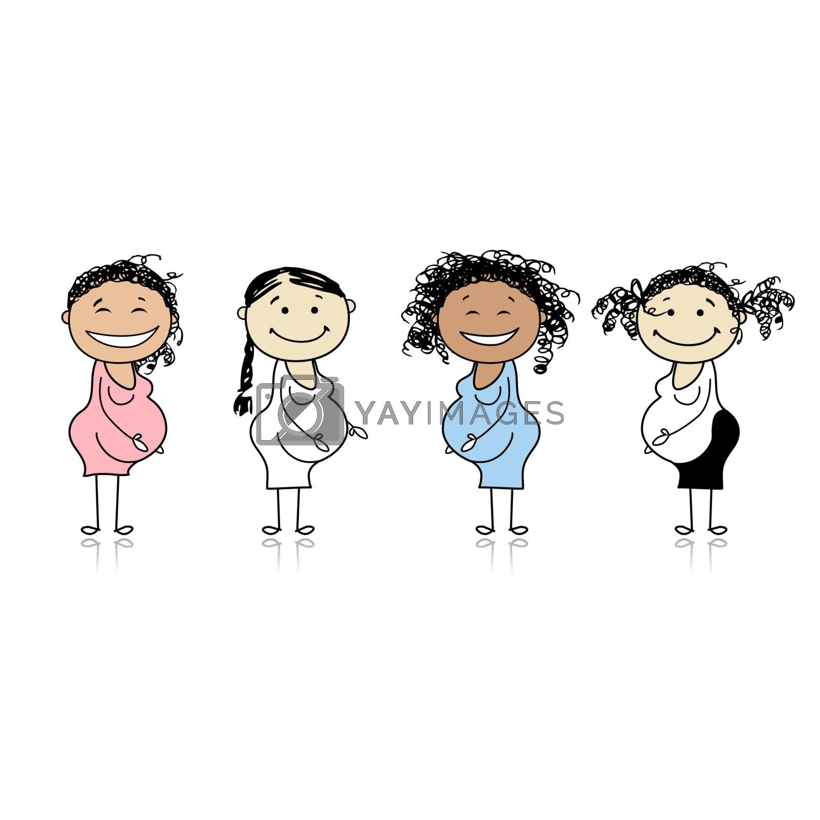 Happy pregnant women waiting for babies