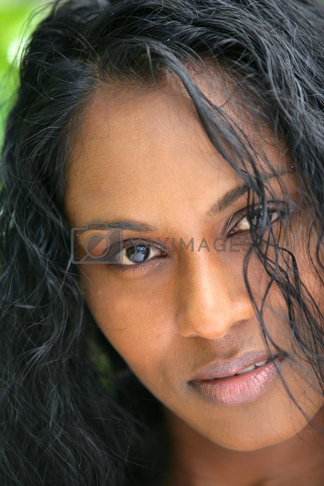 Close-up of black woman by phovoir