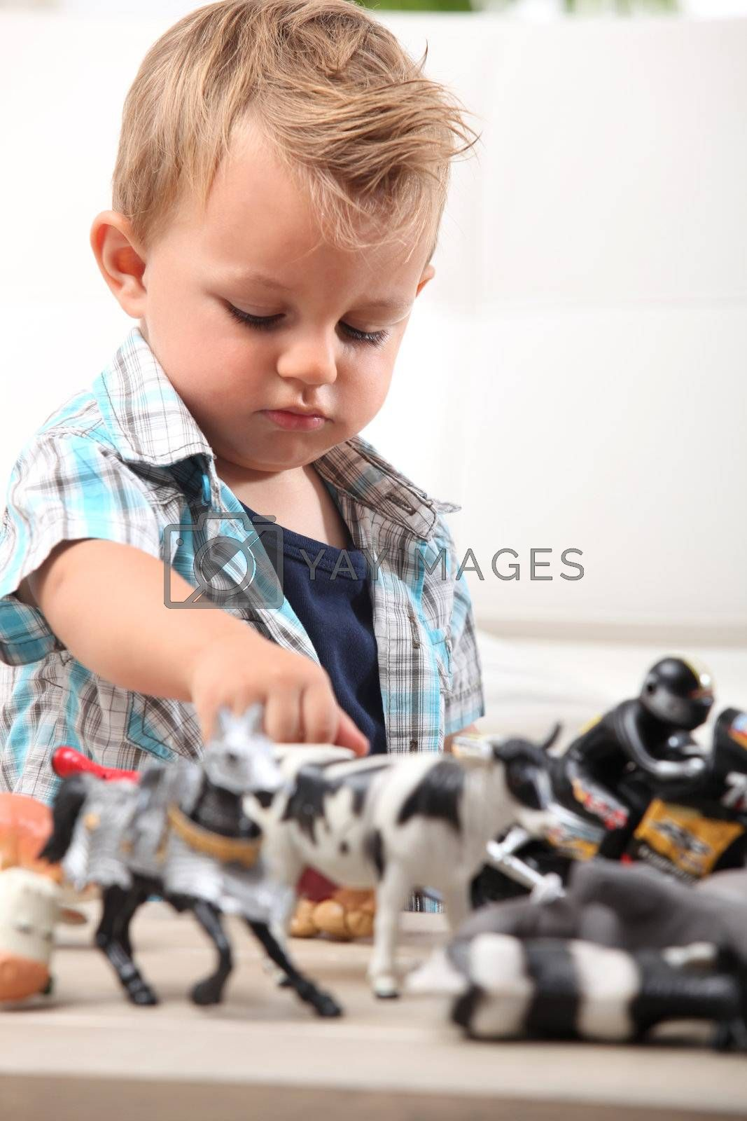Young boy playing with a selection of toy figurines and animals
