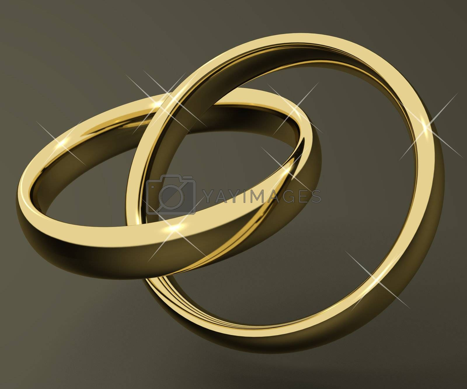 Gold Rings Represent Love Valentines And Romance