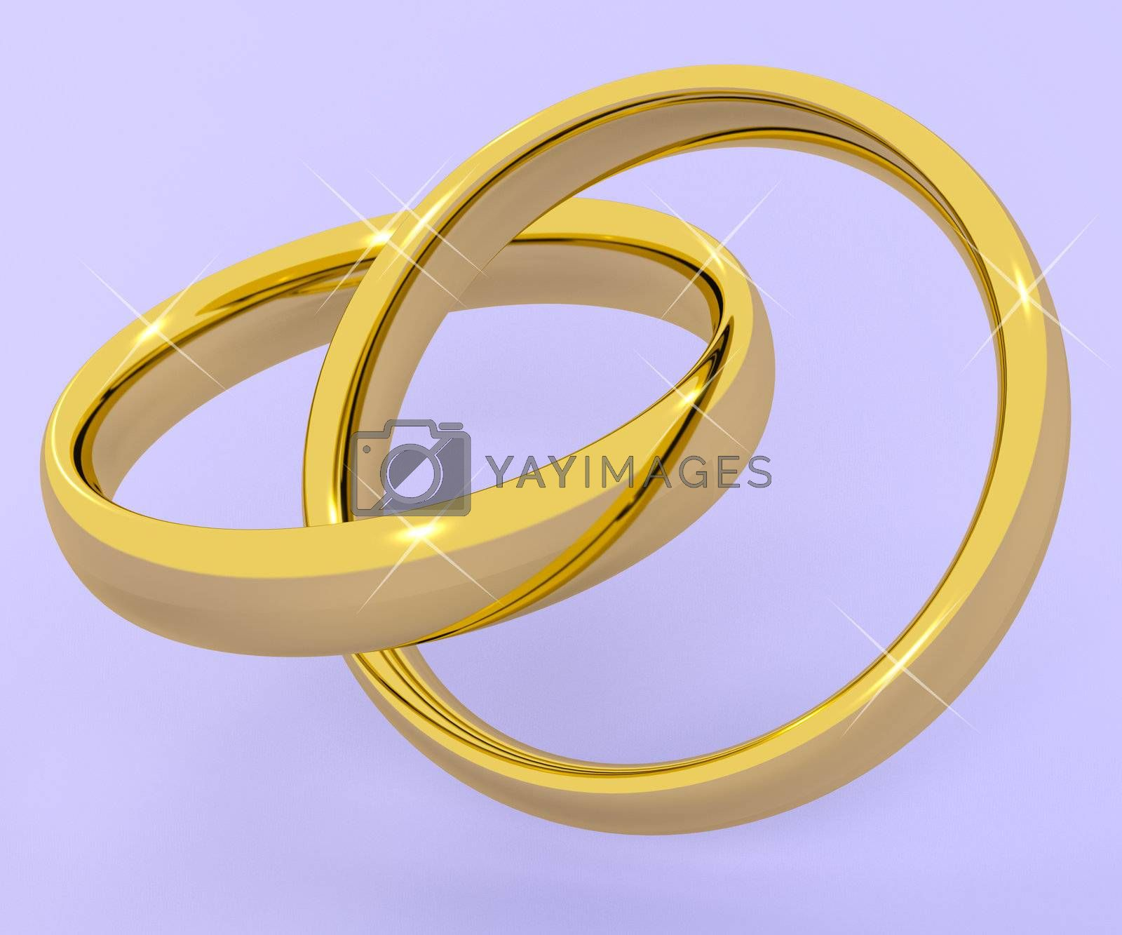 Gold Rings Represents Love Valentine And Romance
