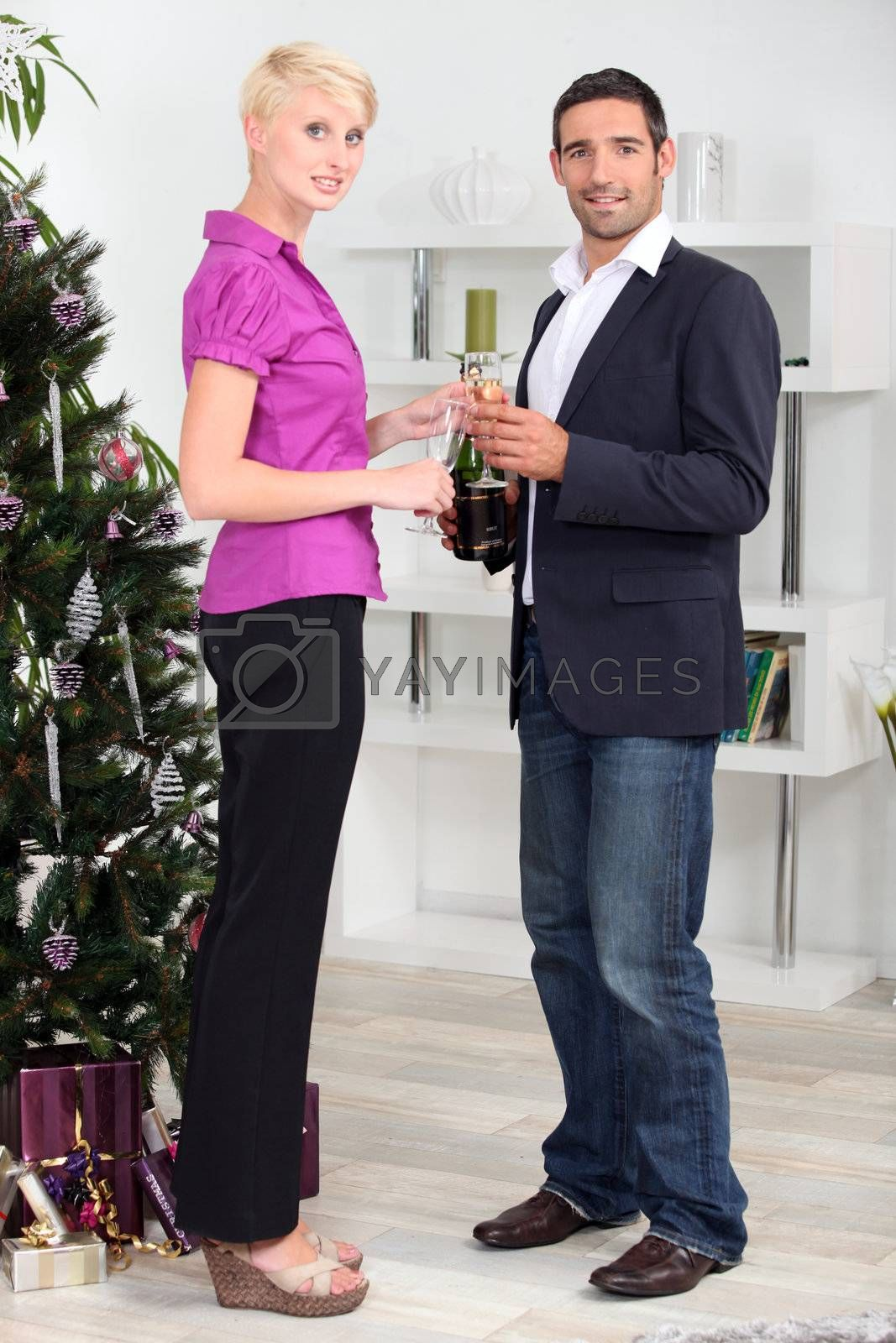 Couple celebrating New Year's Day