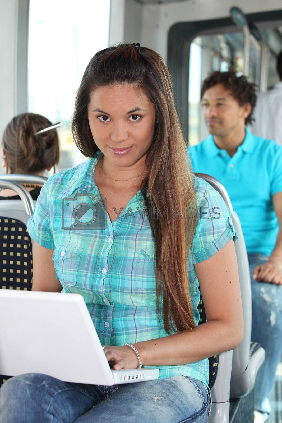 young woman in public transportation