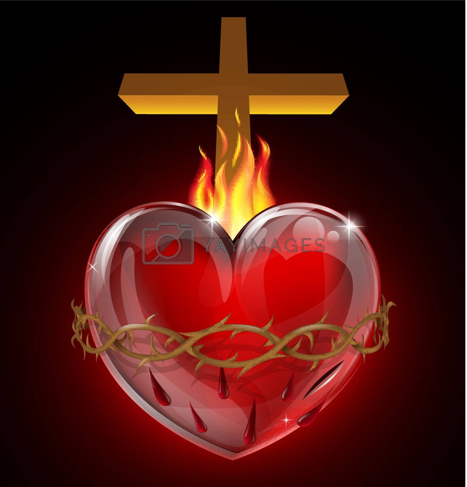 Illustration of the Most Sacred Heart of Jesus. A bleeding heart with flames, pierced by a lance wound with crown of thorns and cross.