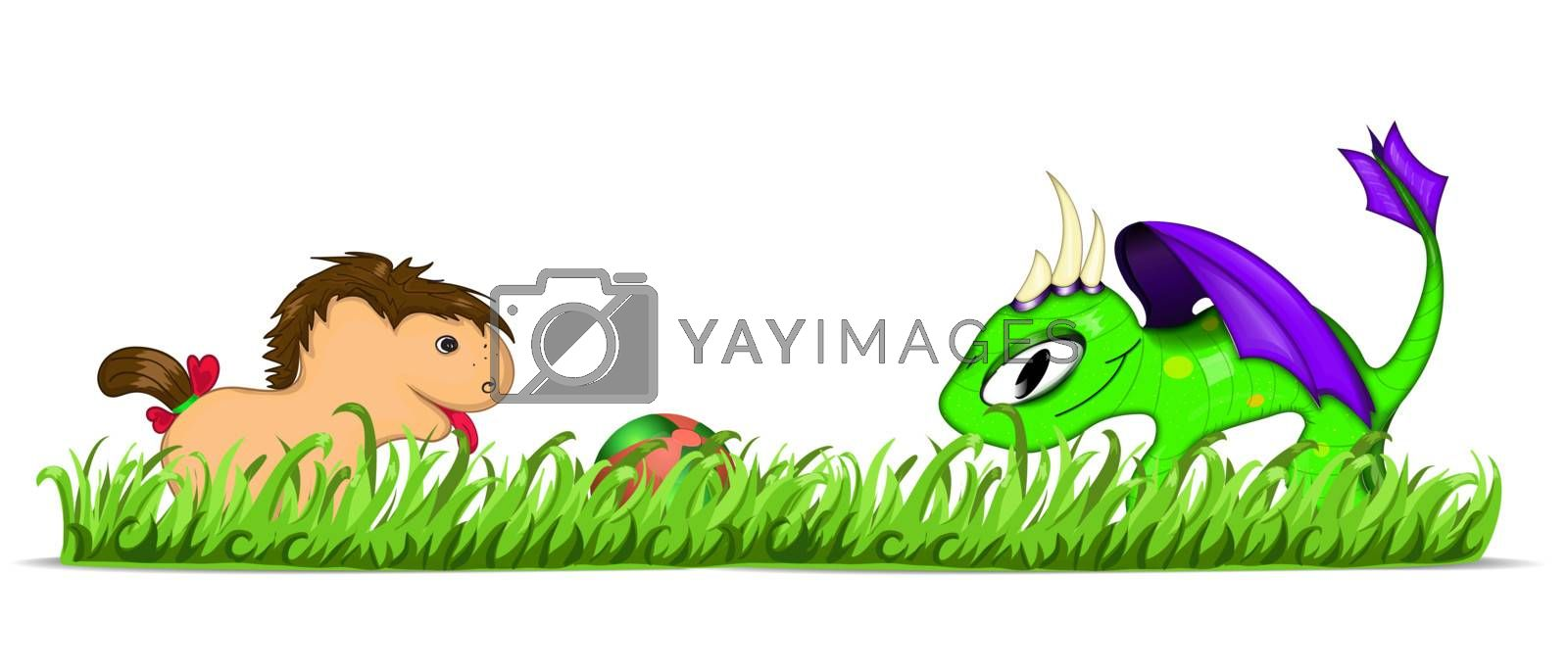 Dragon and pony plaing with ball. Vector illustration eps10