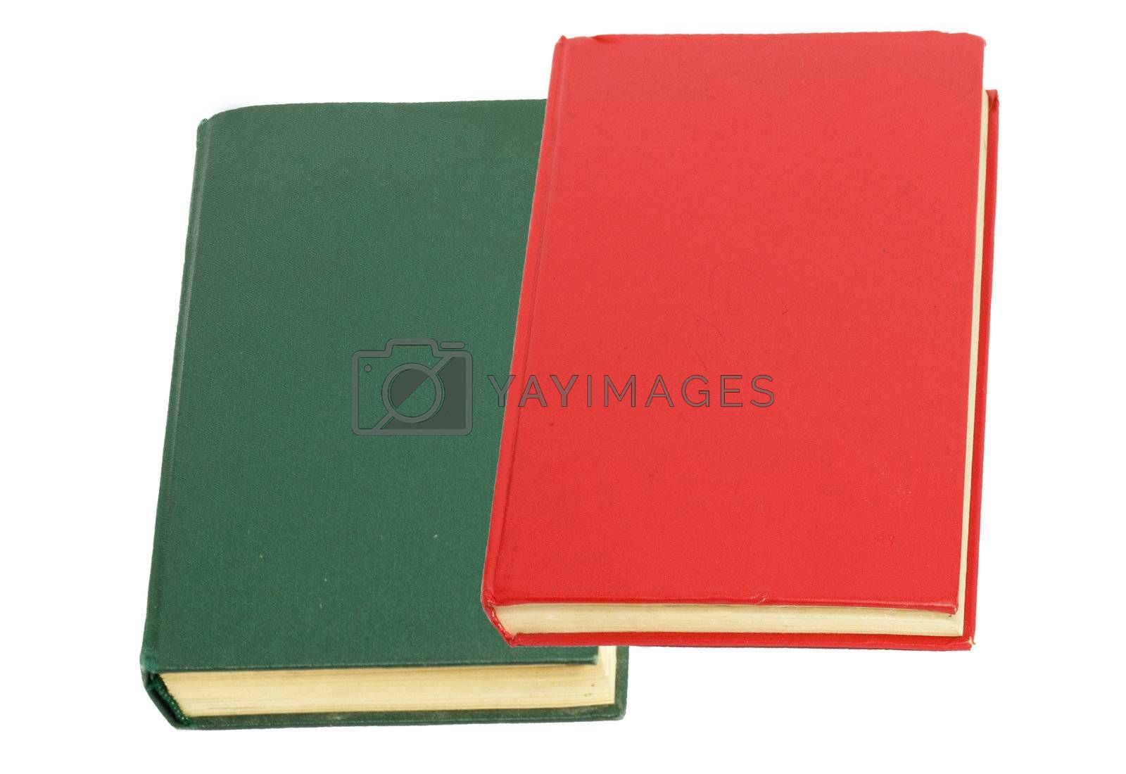 green book and red book on white background