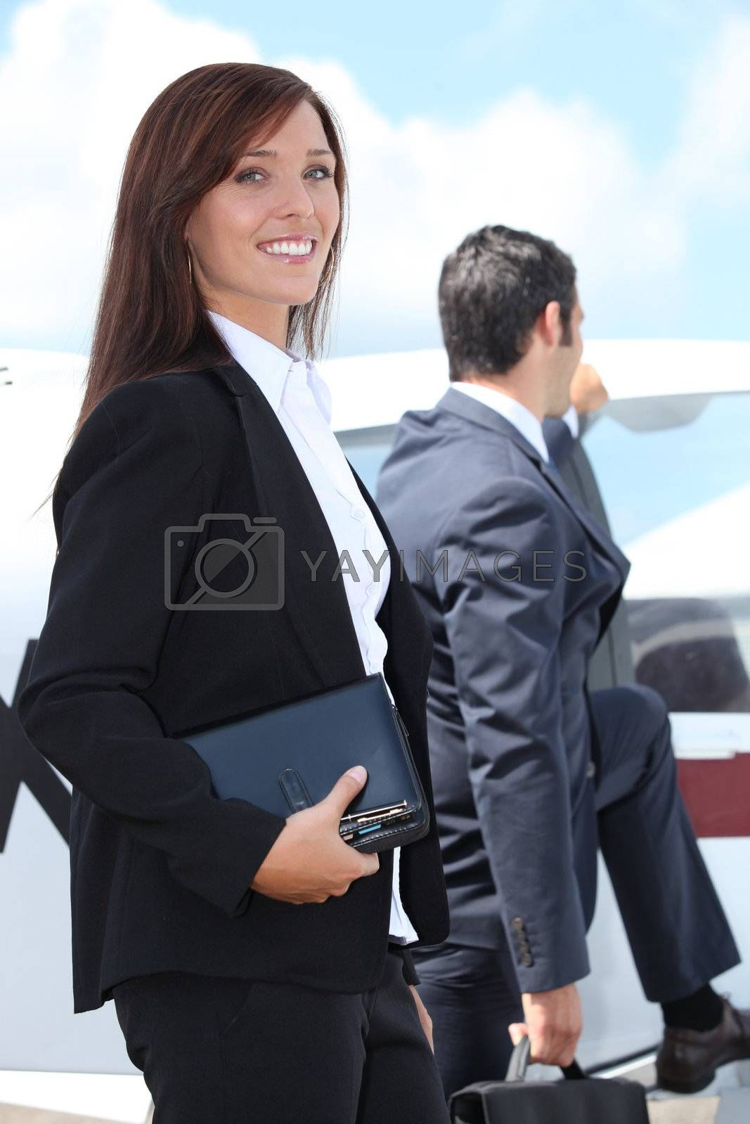 Couple boarding a light aircraft