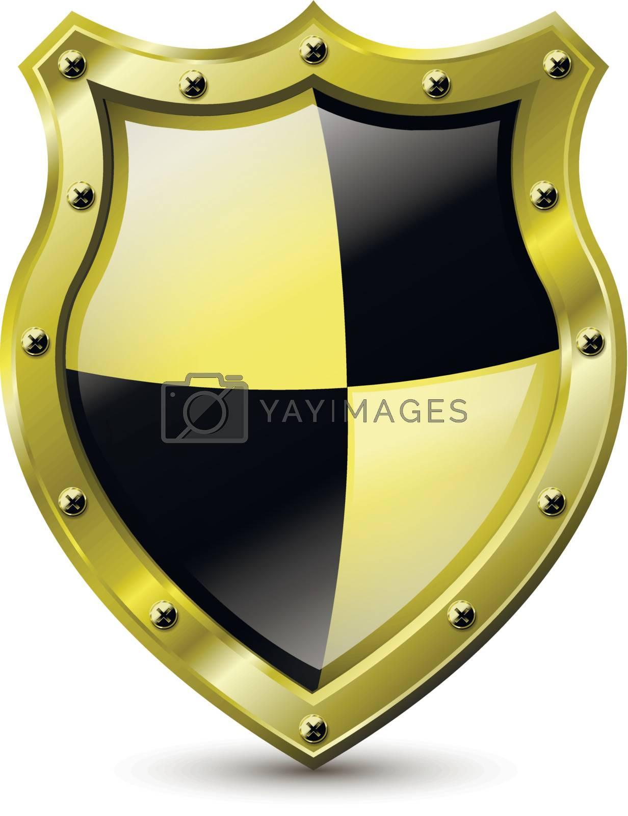 illustration of an abstract metallic golden shield