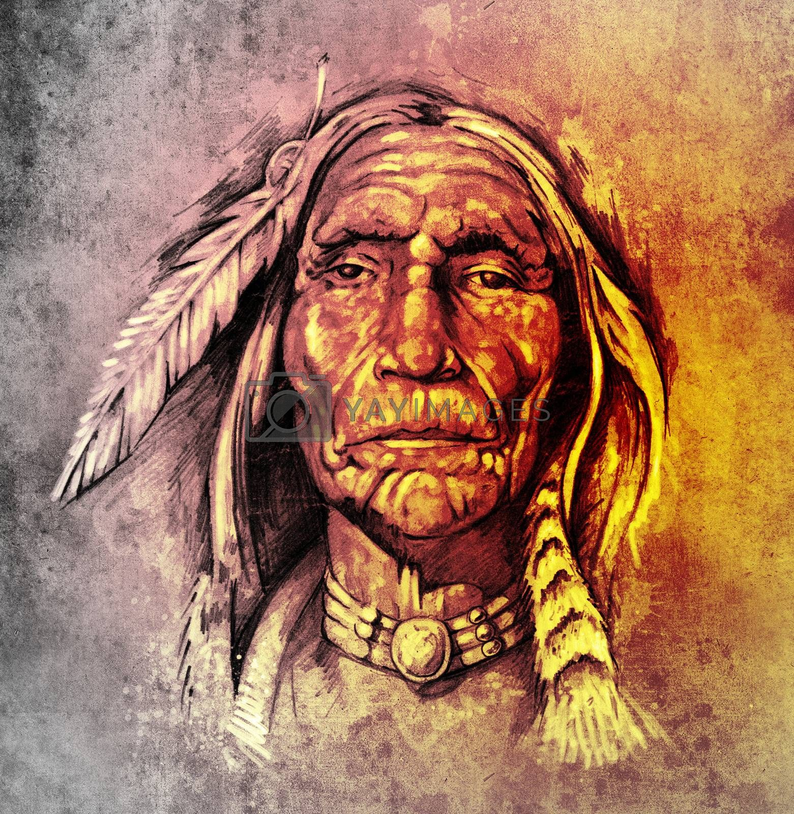 Sketch of tattoo art, portrait of american indian head over colorful paper