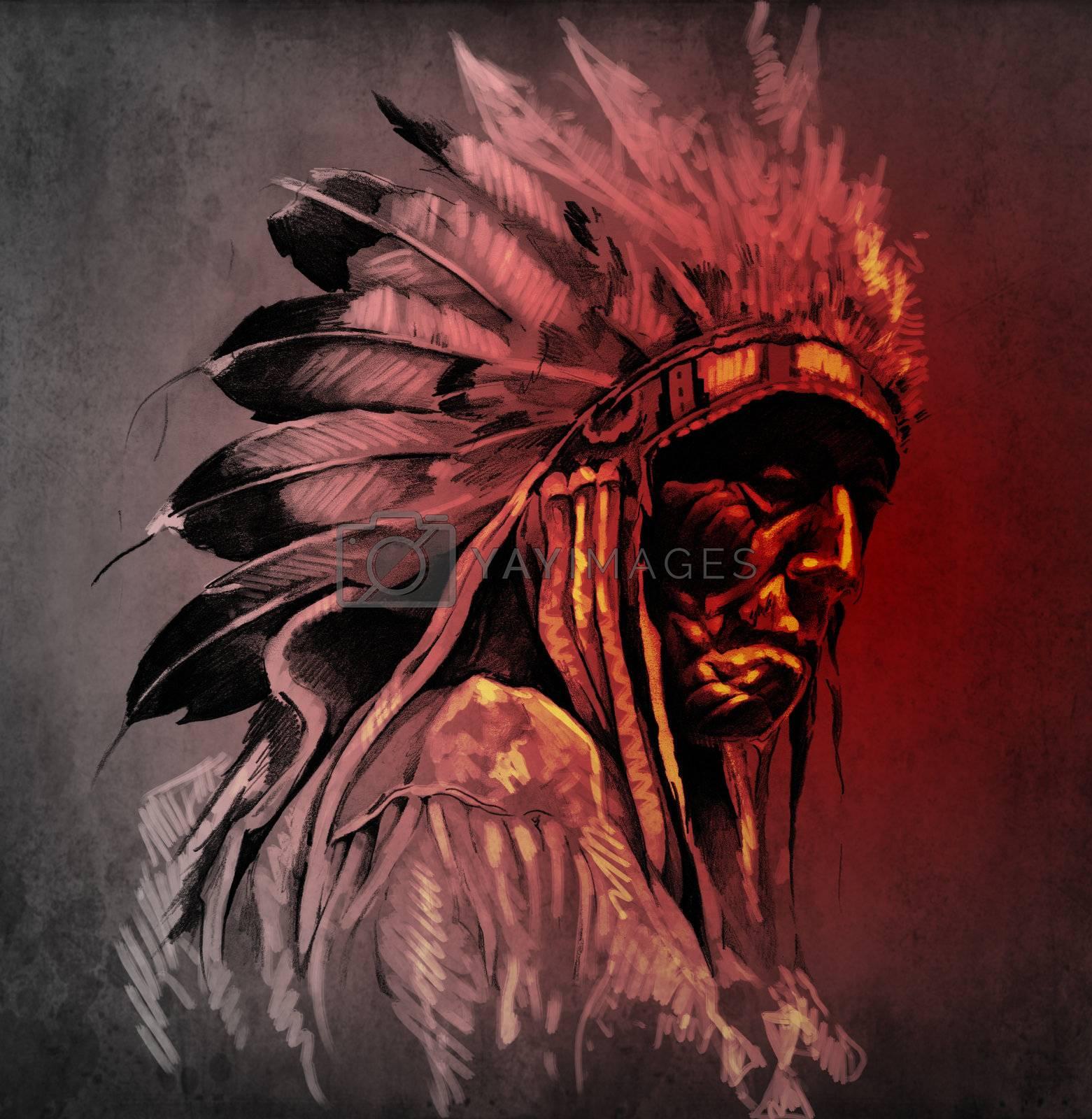Tattoo art, portrait of american indian head over dark background