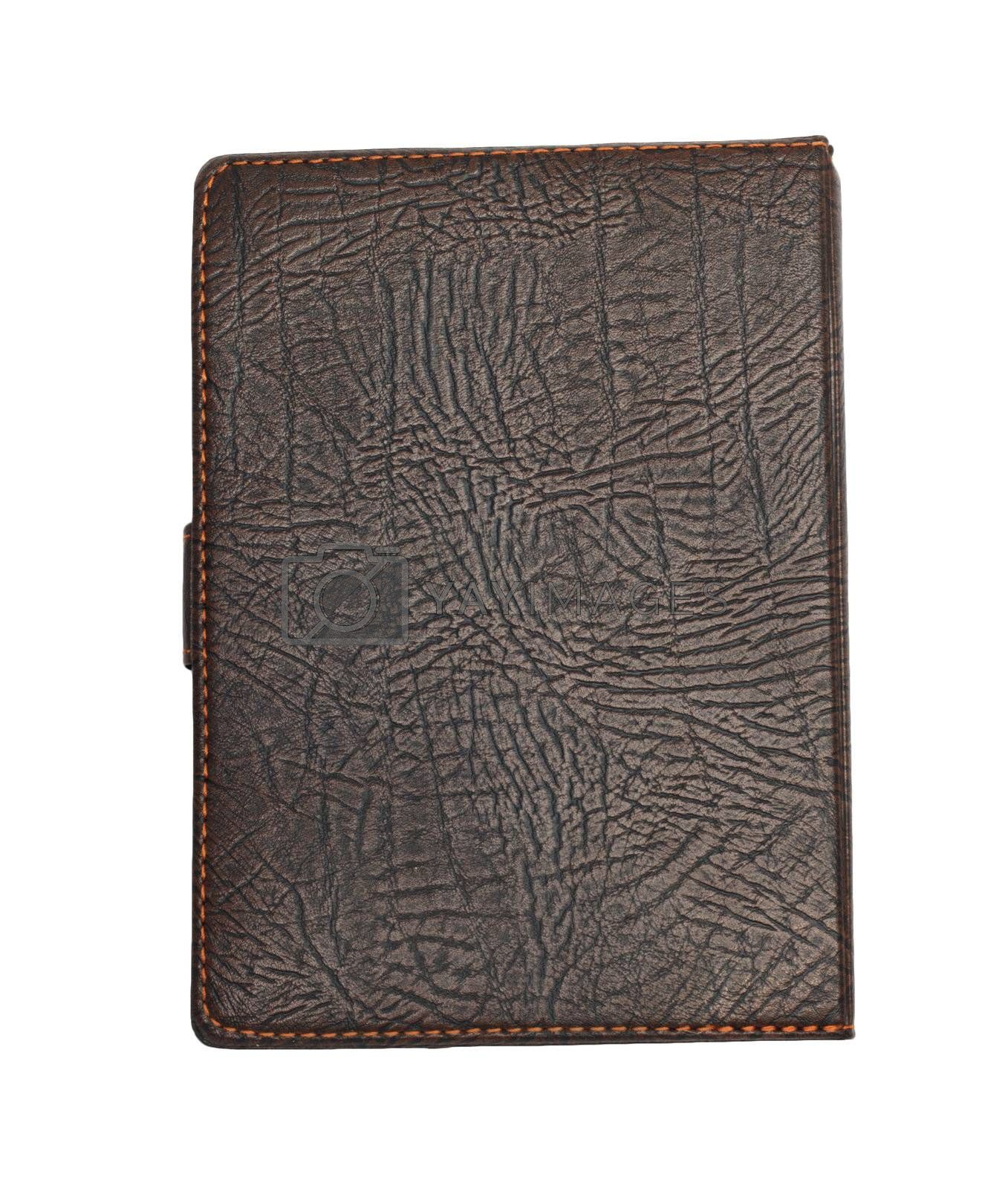 brown leather note book isolated on white background