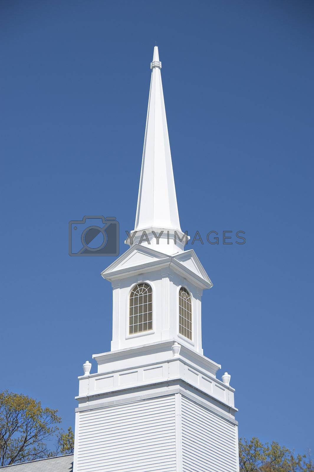 Church steeple in white in old New England church