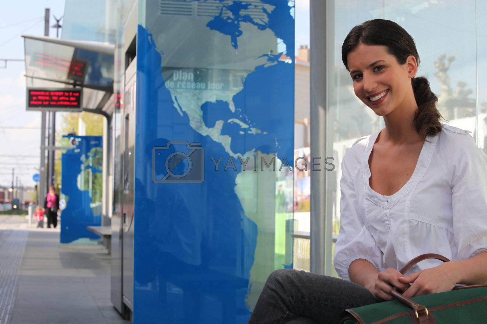 Woman in public transport by phovoir