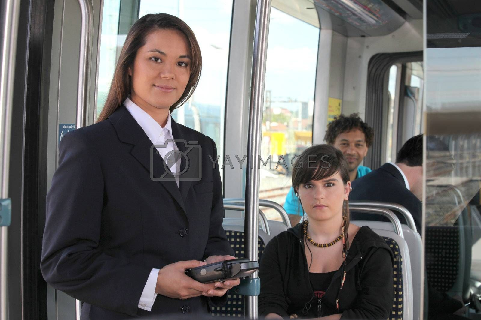 Female ticket inspector on a tram