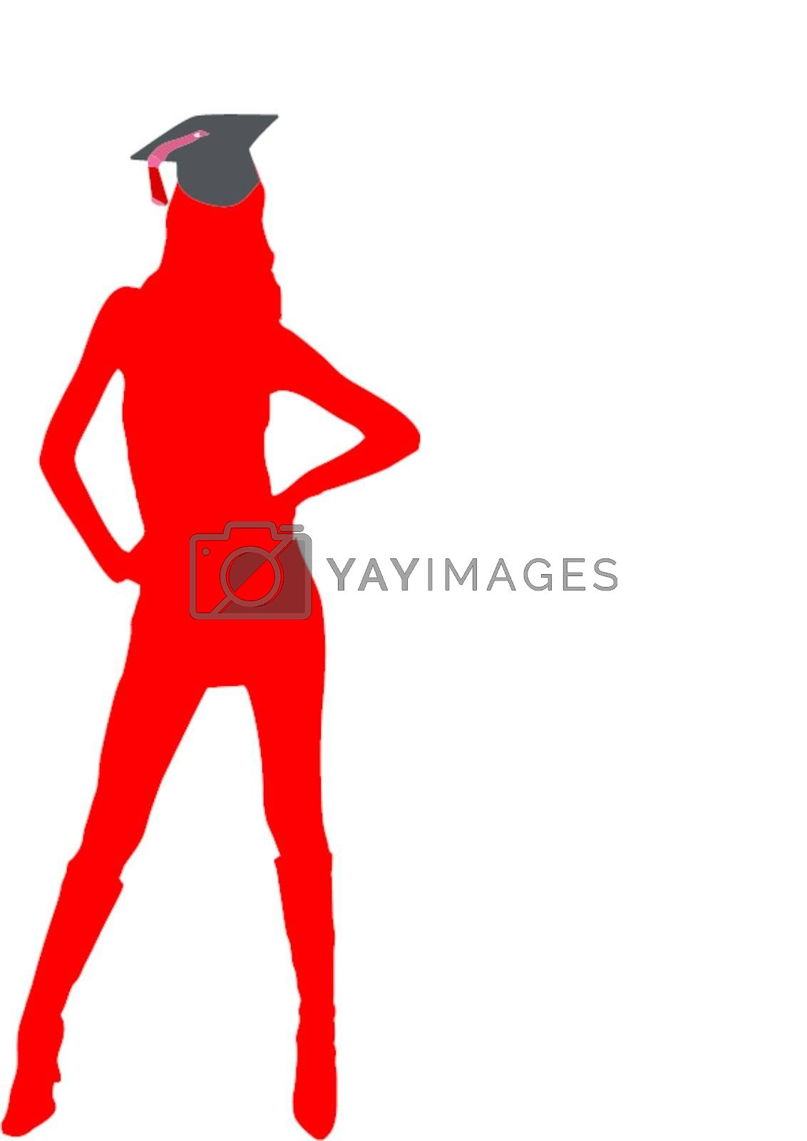 sexy graduate female student with university hat - isolated vector illustration