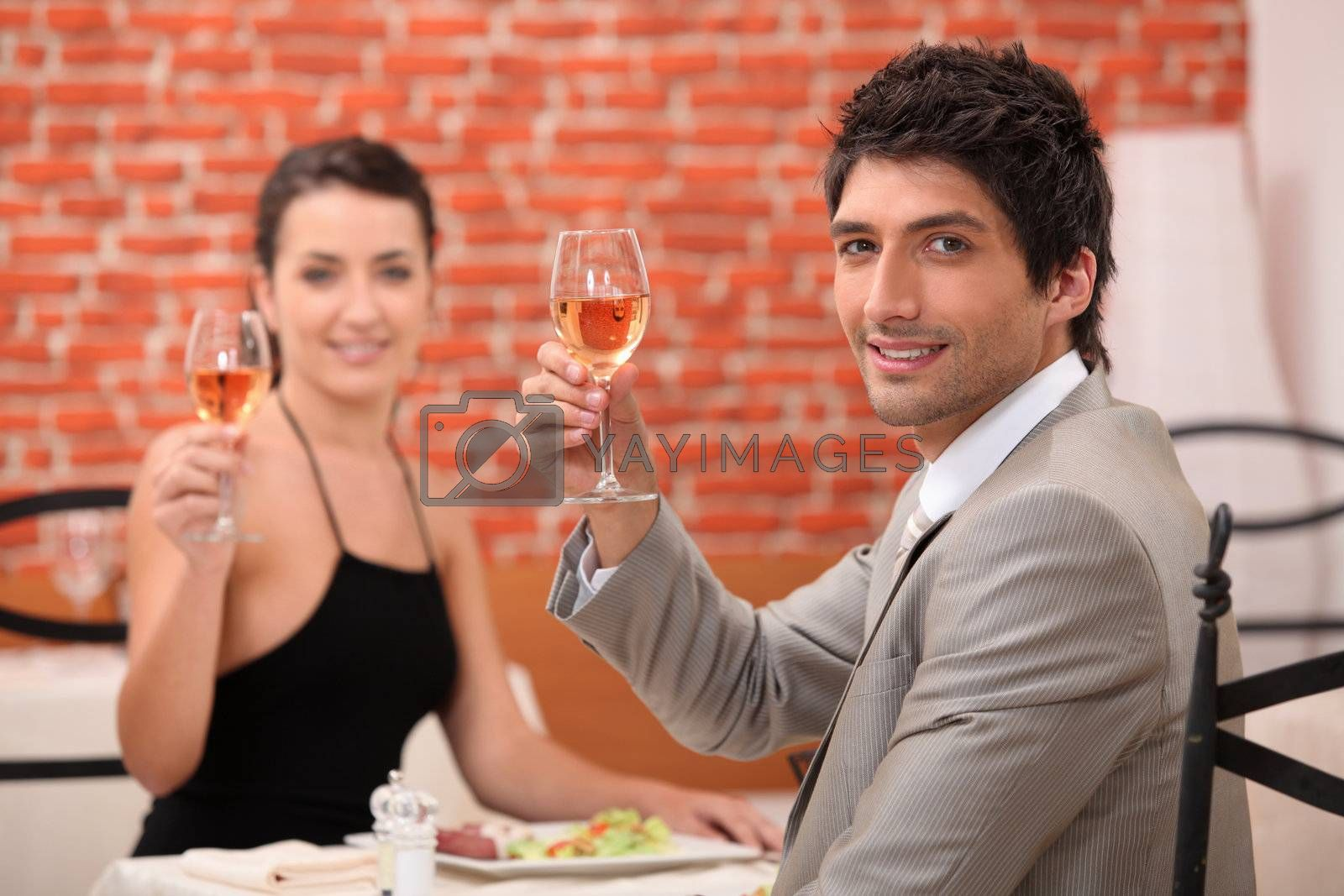 Couple having a meal in a fancy restaurant