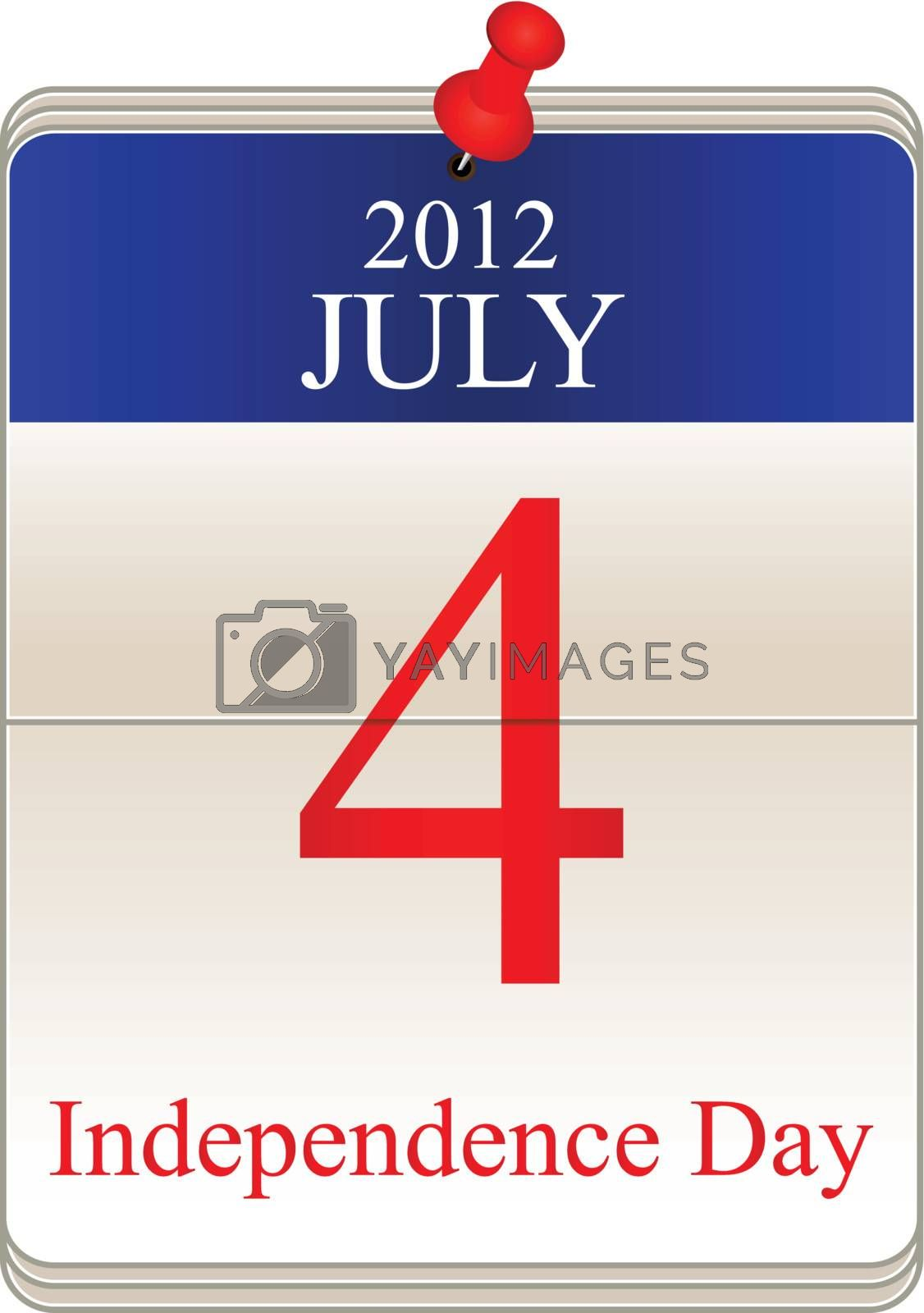 Vector of calendar for 4th July for Independence Day