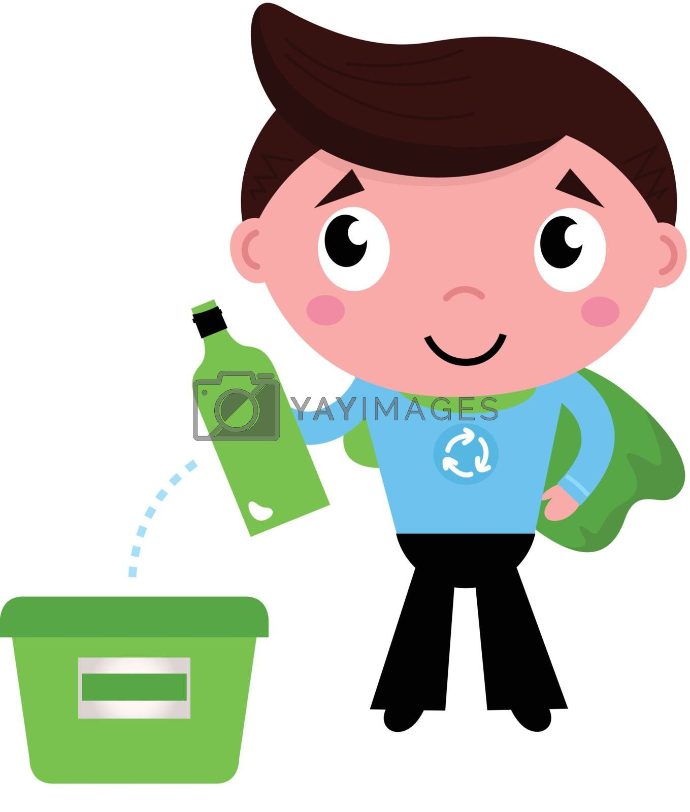 Kid giving empty bottle in recycling bin. Vector Illustration