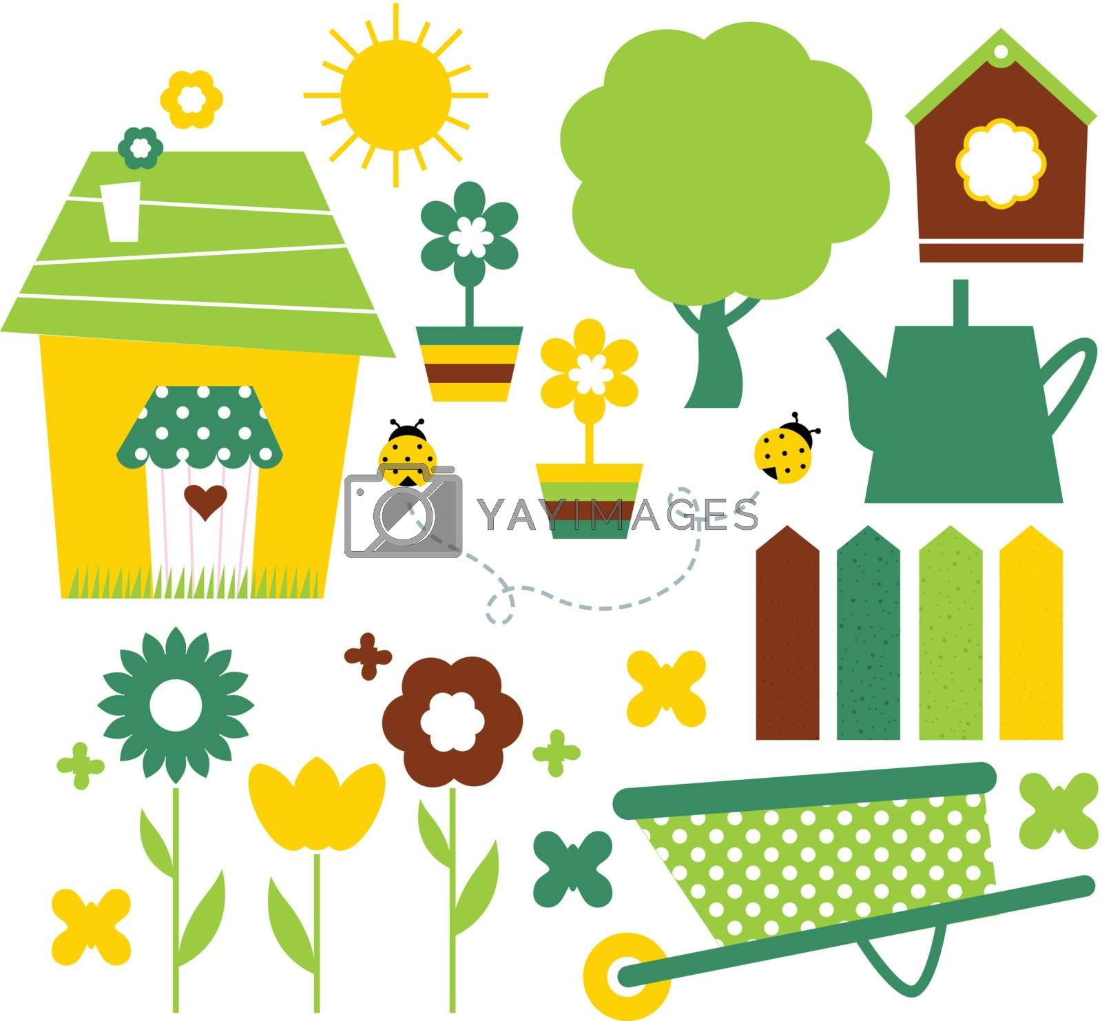 Colorful spring set with various items. Vector