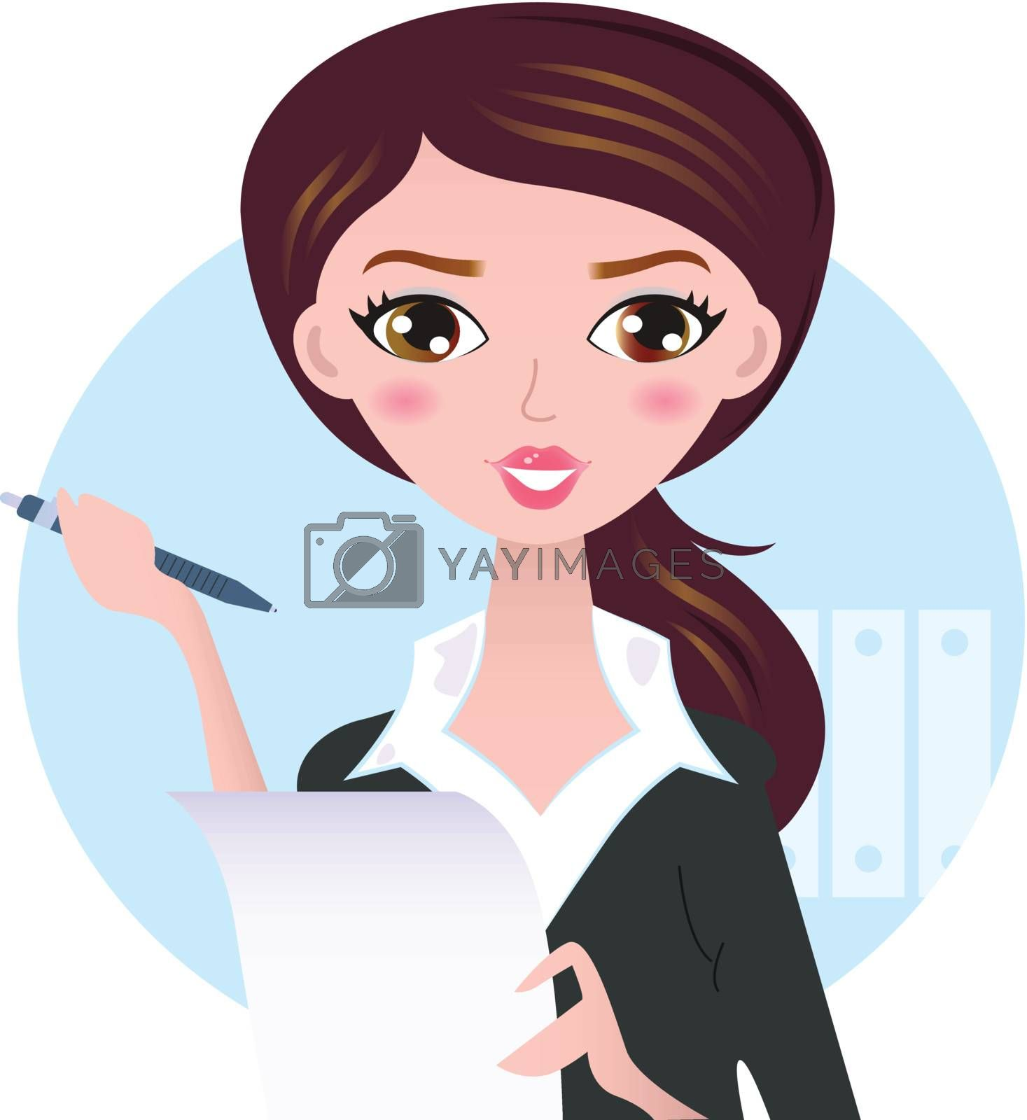 Office writing woman with paper note. Vector Illustration