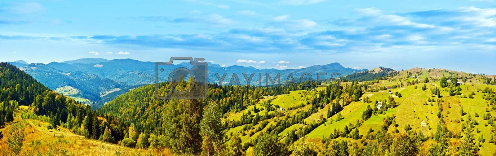 Panoramic mountains landscape, beautiful summer panorama, green highlands rural scenery, natural banner, European village, wide angle of scenic nature, east Europe country travel