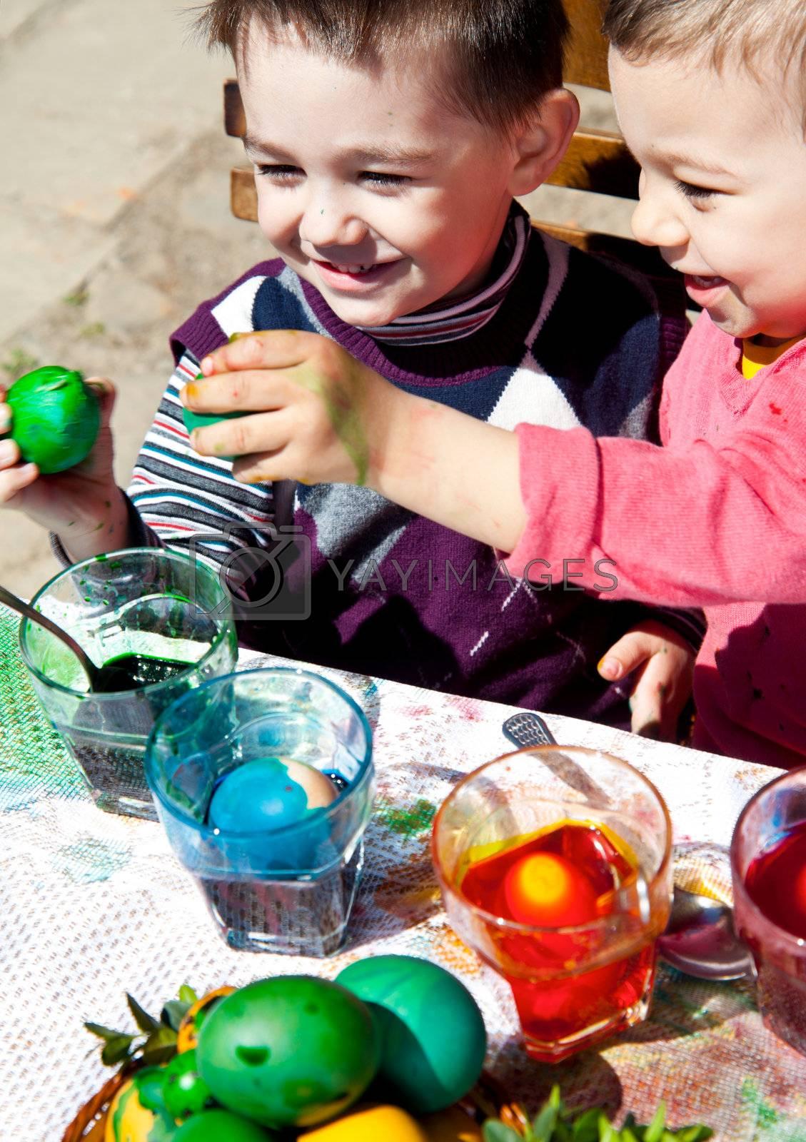 boys fighting easter eggs by anton.chalakov@gmail.com