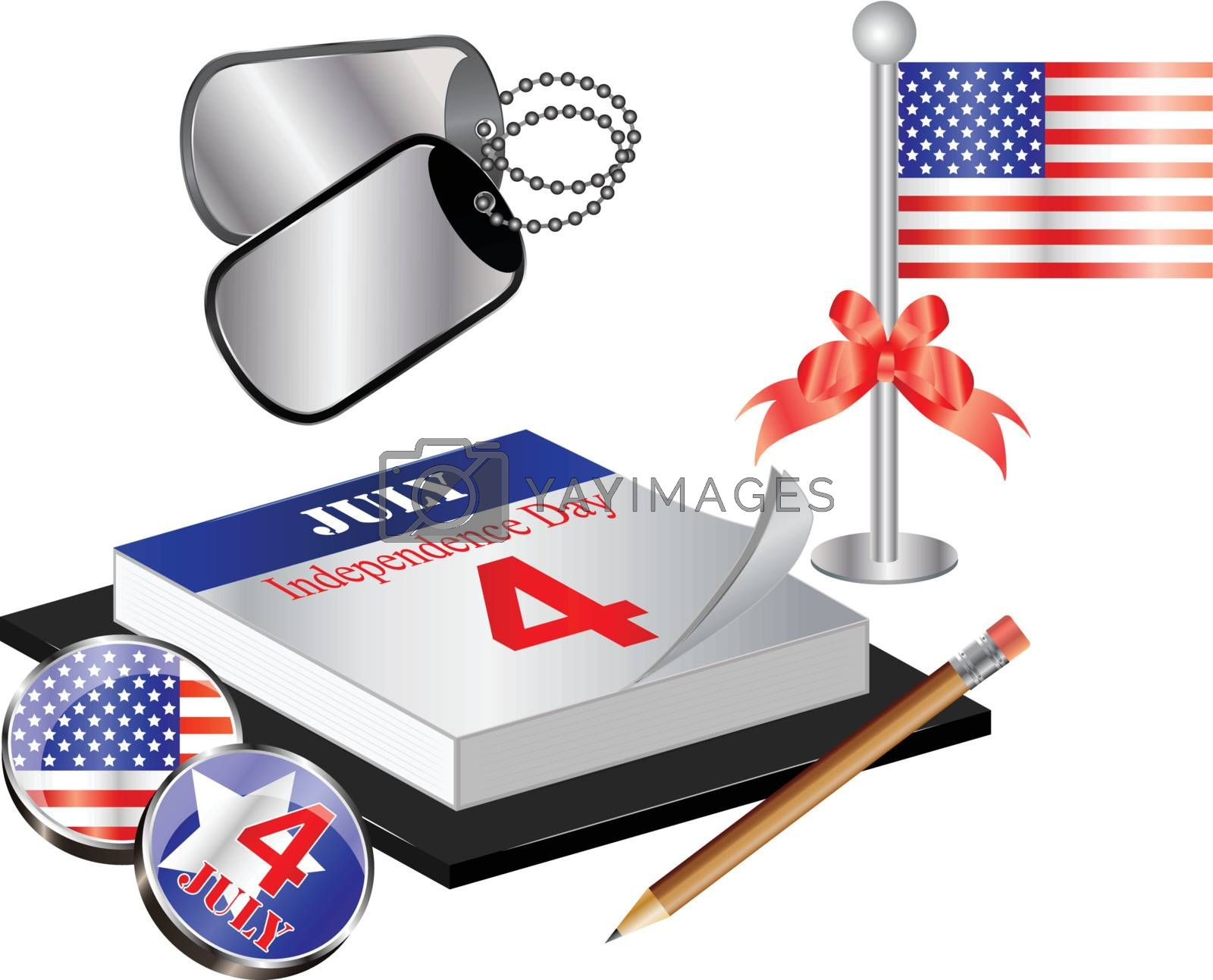 Vector Collection for 4th july with calendar, flag and dog tags