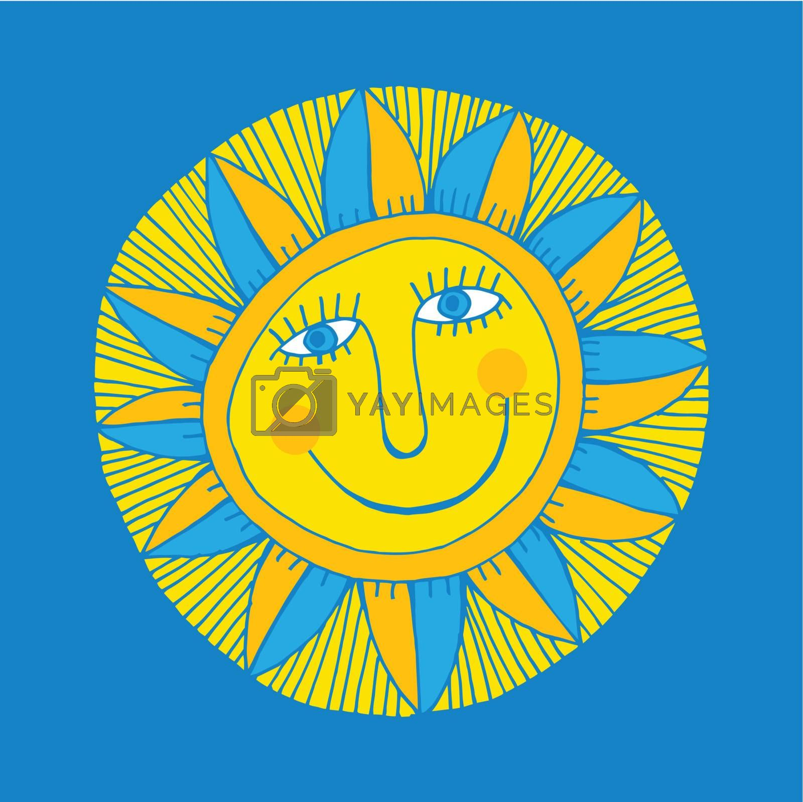 vector abstract smiling sun on blue