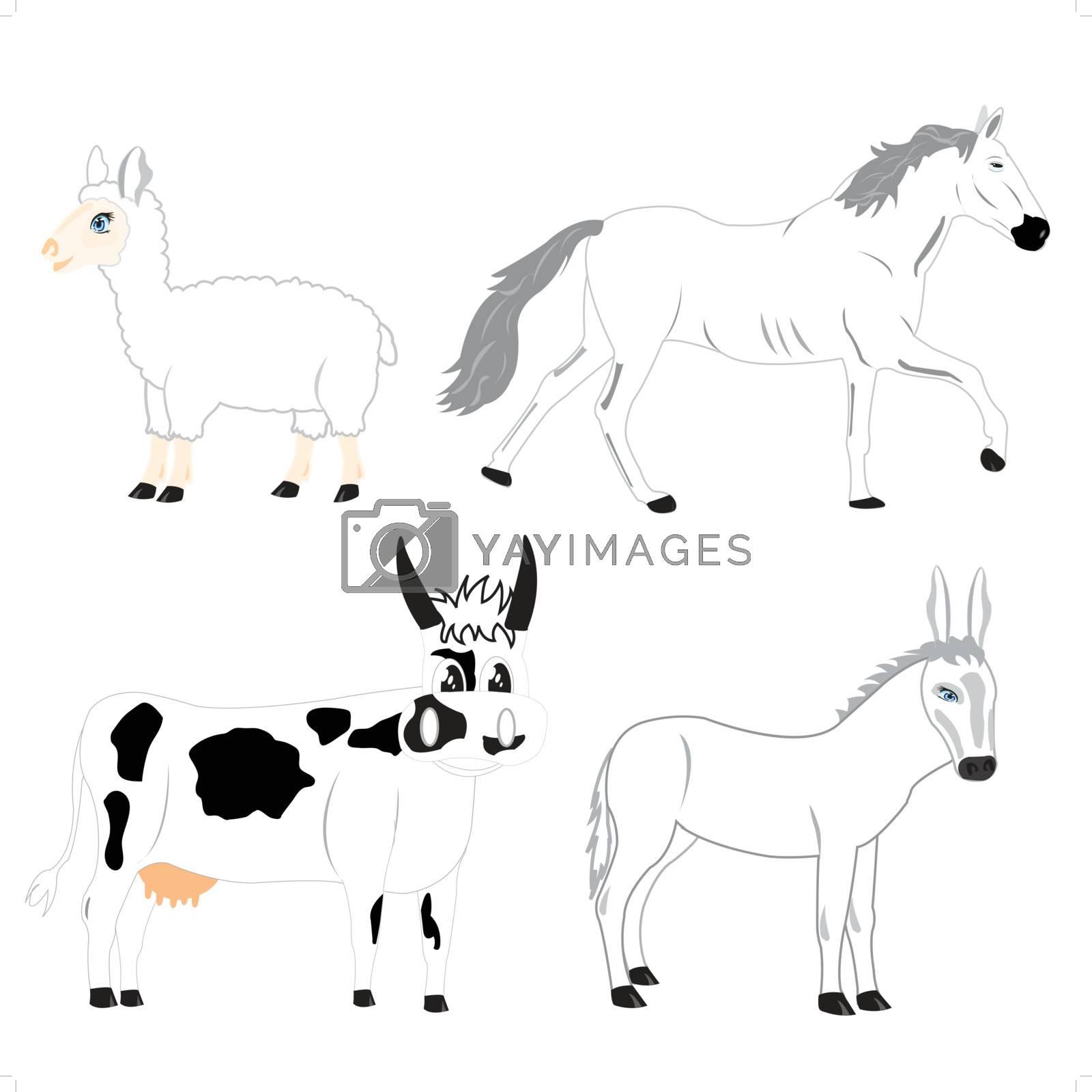 Illustration pets animal on white background