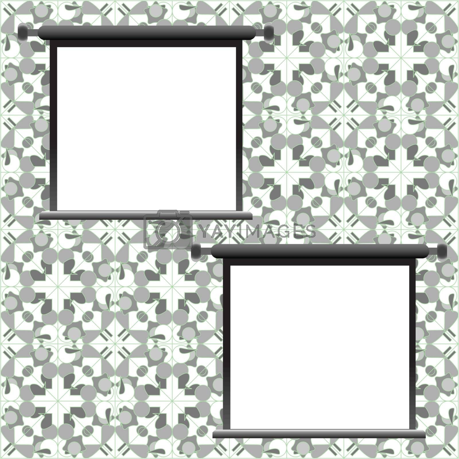 Grungy antique wallpaper background with empty frame. vector